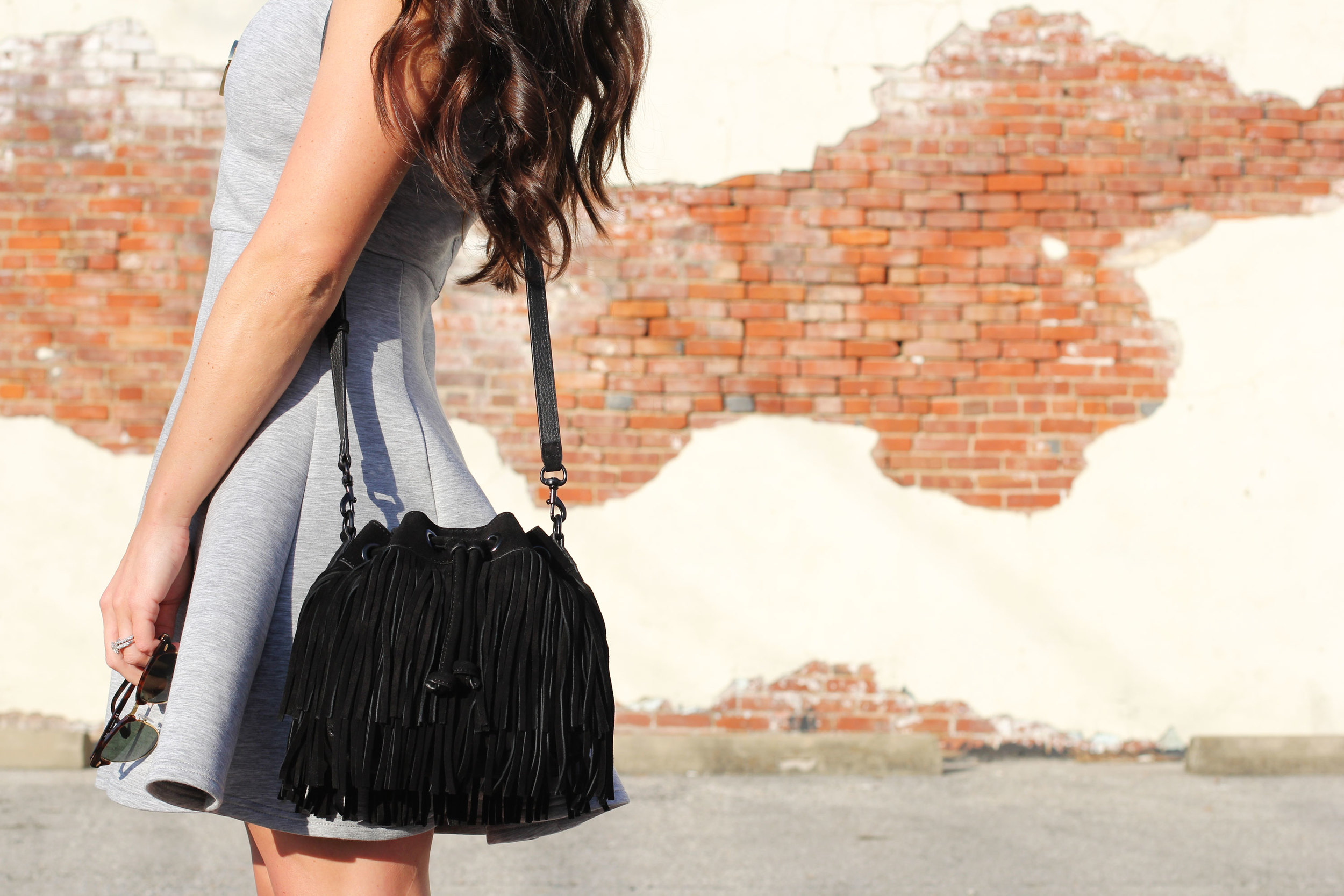 MINKPINK Stagnant Dress, Rebecca Minkoff Fringe Mini Fiona Bucket Bag, Seychelles Play Along Pumps, Ray-Ban Club Master Sunglasses, House of Harlow 1960 Sunburst Pendant Necklace