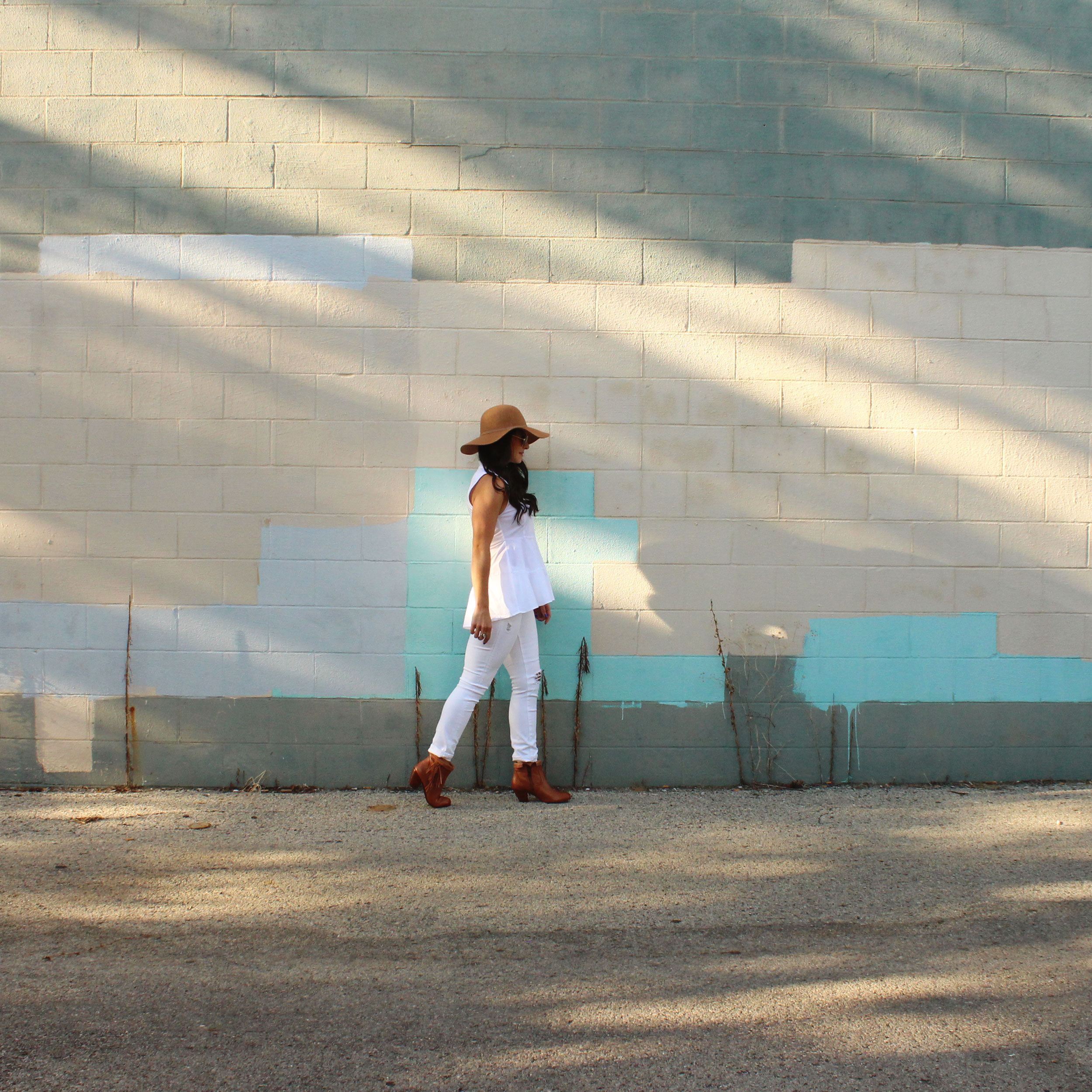White Denim for Fall, Gap Jeans, J.Crew Denim Jacket, Old Navy Floppy Hat, Sam Edelman Louie Booties, Zara Peplum Top, Sally Hansen Gel Polish in 'Tidal Wave', Seattle Fashion Blogger