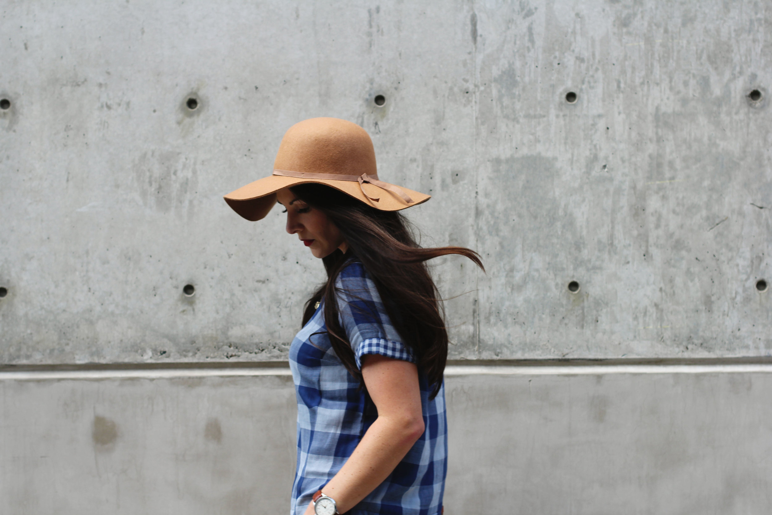 Fall Outfit, Old Navy Boxy Plaid Top, Old Navy Felt Floppy Hat, J.Crew Toothpick Cords, Vintage Louis Vuitton Crossbody, Sam Edelman Louie Fringe Booties