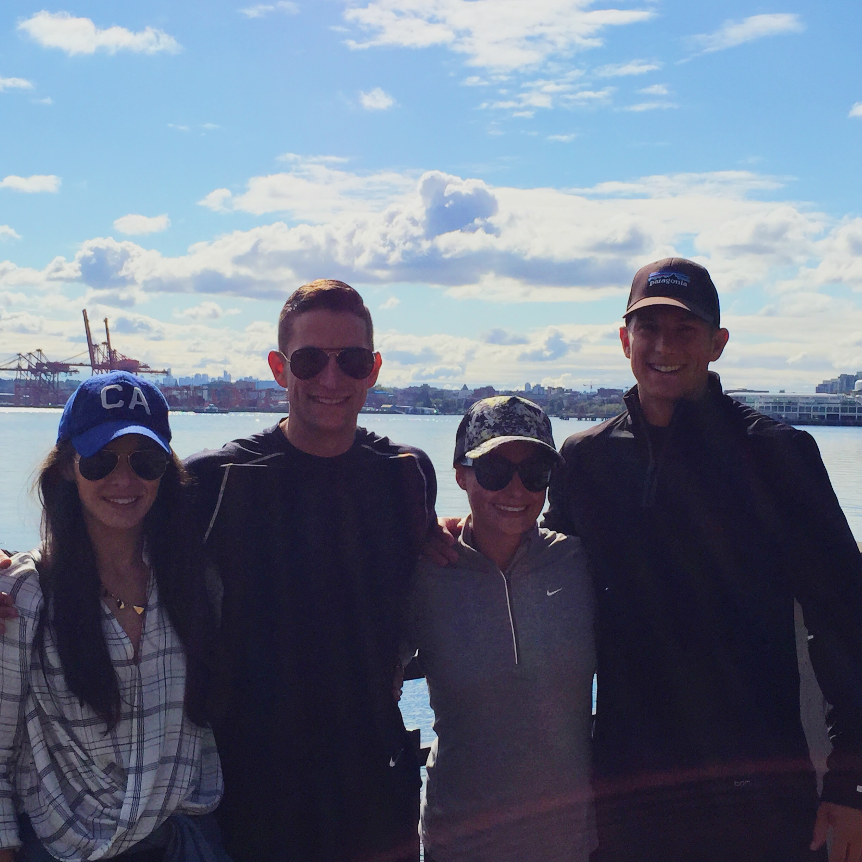 Vancouver Canada, Seawall Bike Ride, Athleisure, Vera Bradley Quilted Amy Backpack, Wool Baseball Cap, J.Crew Denim Jacket