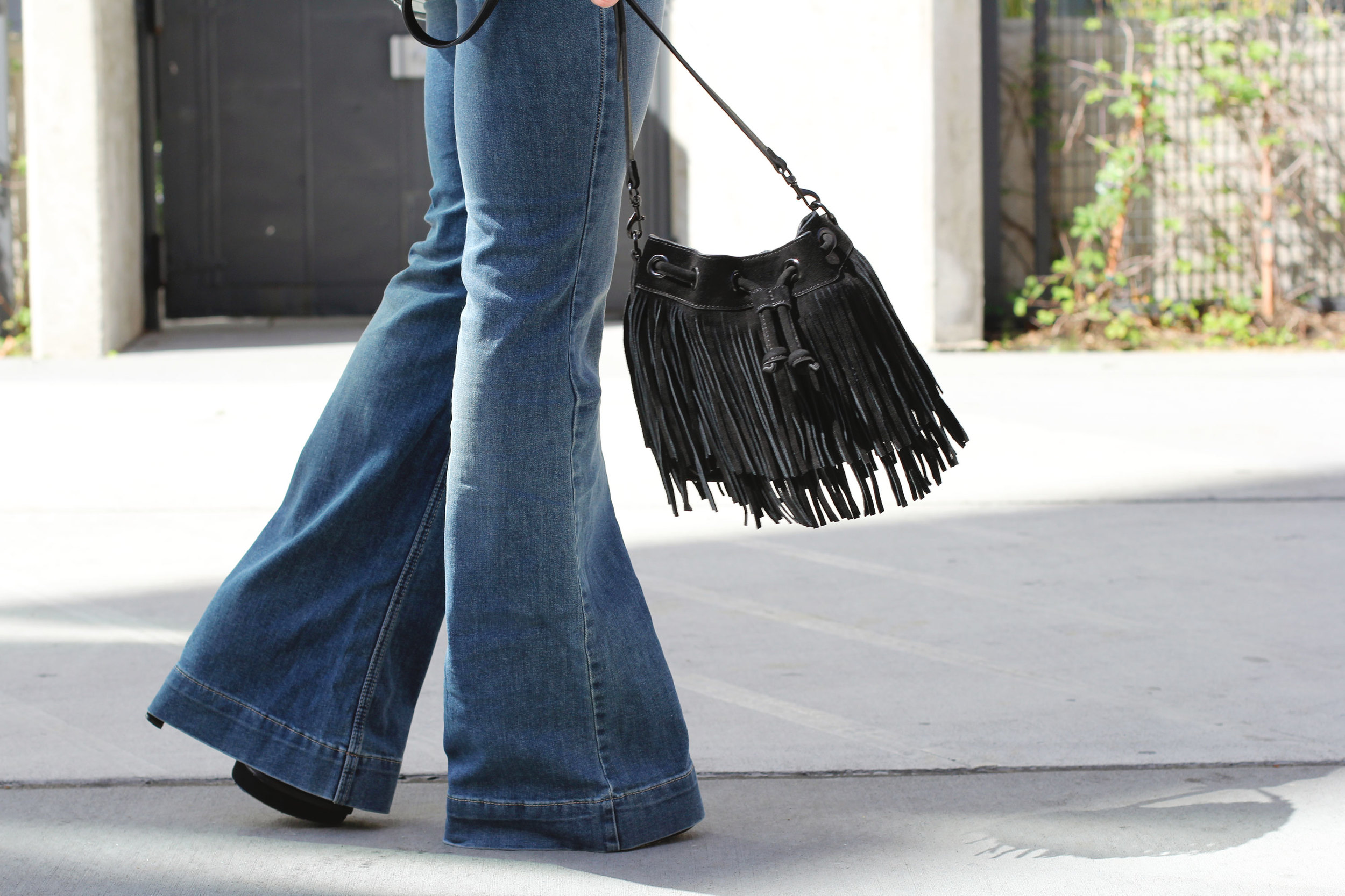 Fall Fashion, Flare Jeans, Rebecca Minkoff Fringe Bucket Bag, Abercrombie & Fitch Drapey Wrap Front Shirt, 70s Fashion Trend