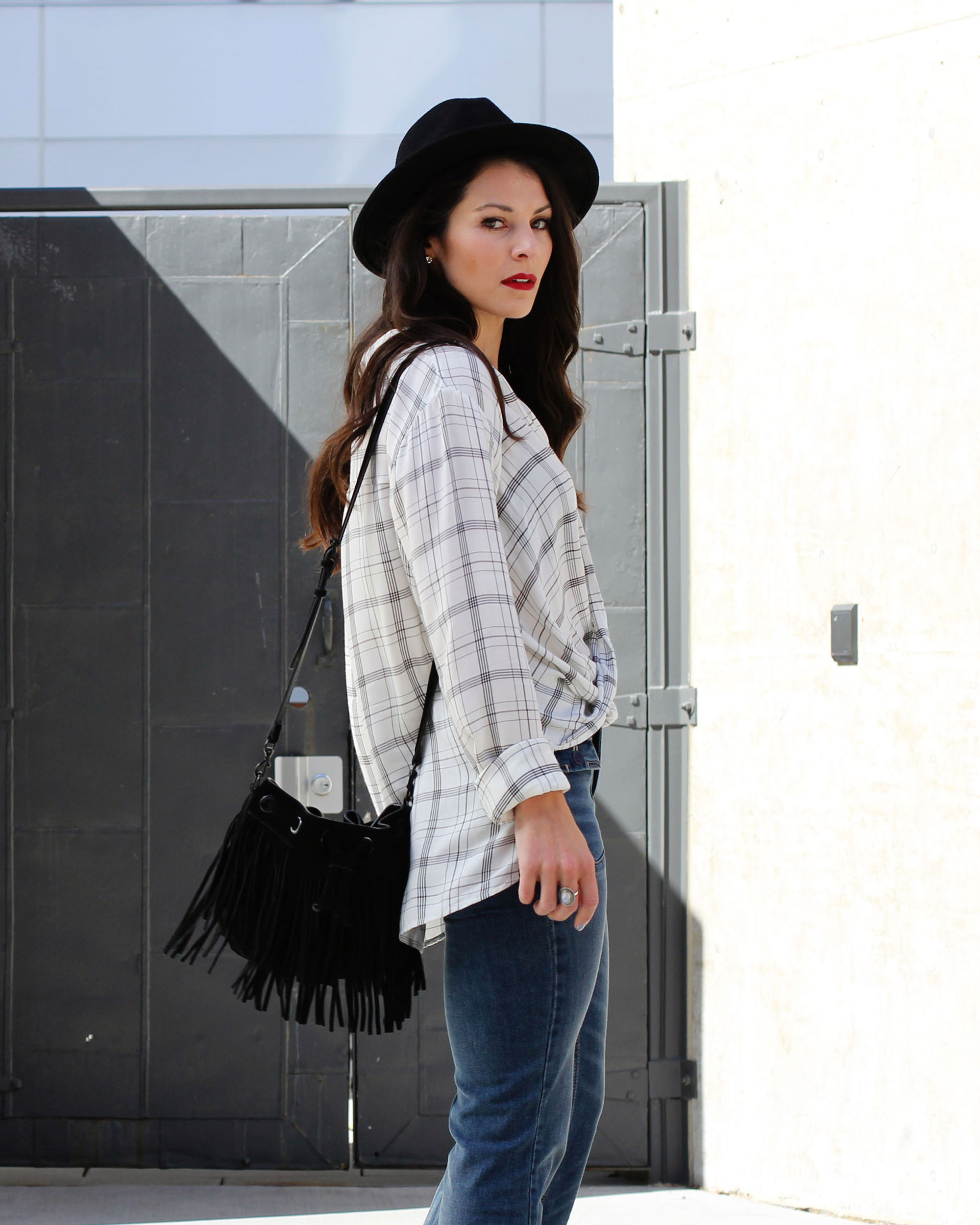 Fall Fashion, Flare Jeans, Rebecca Minkoff Fringe Bucket Bag, Abercrombie & Fitch Drapey Wrap Front Shirt, 70s Fashion Trend, NARS Lipstick Pencil in 'Cruella'