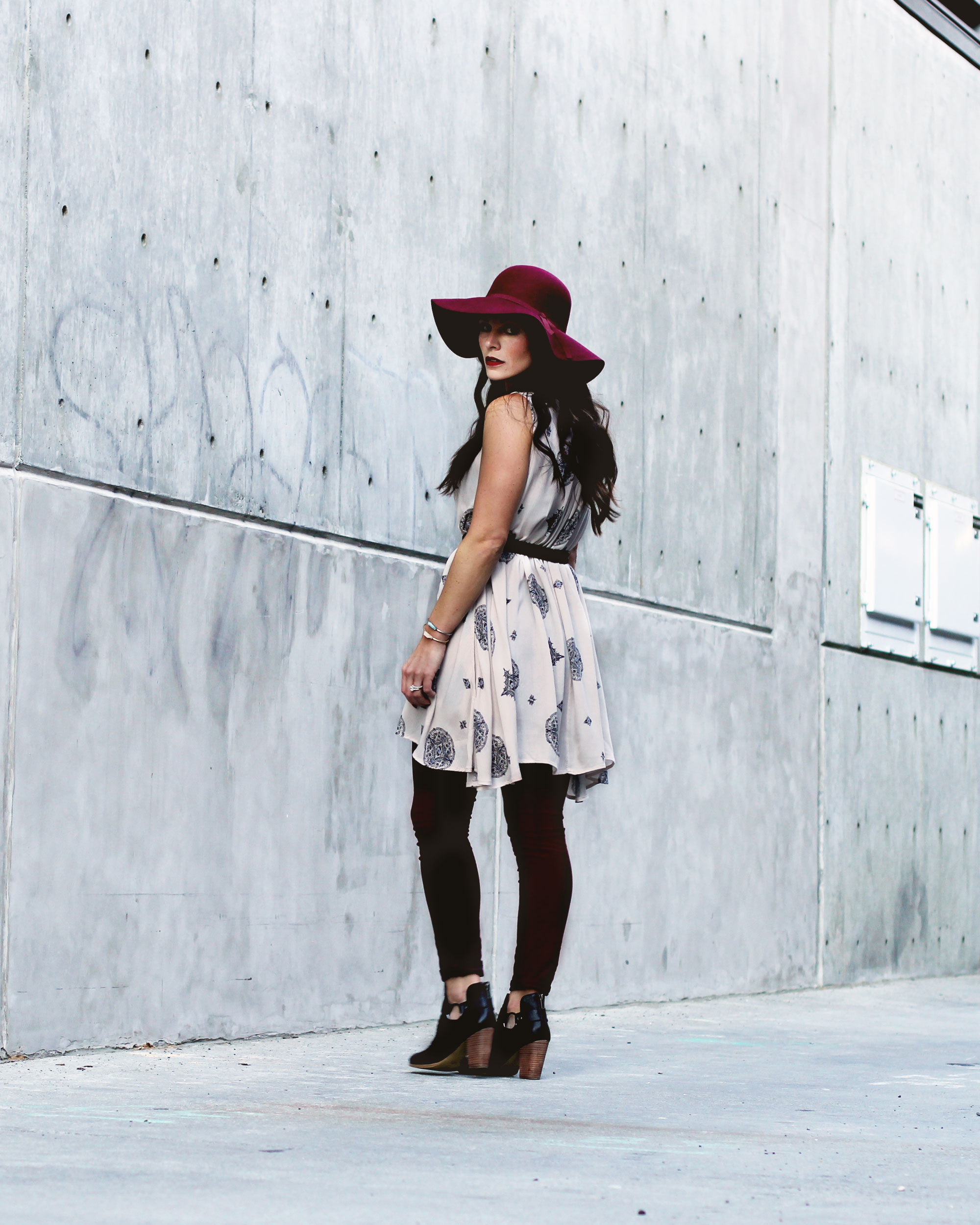 Fall Fashion on www.me-and-mrjones.com, Free People Tree Swing Top, J.Crew Cords, Old Navy Felt Floppy Hat, SeychellesImpossible Booties, Rebecca Minkoff Mini Fiona