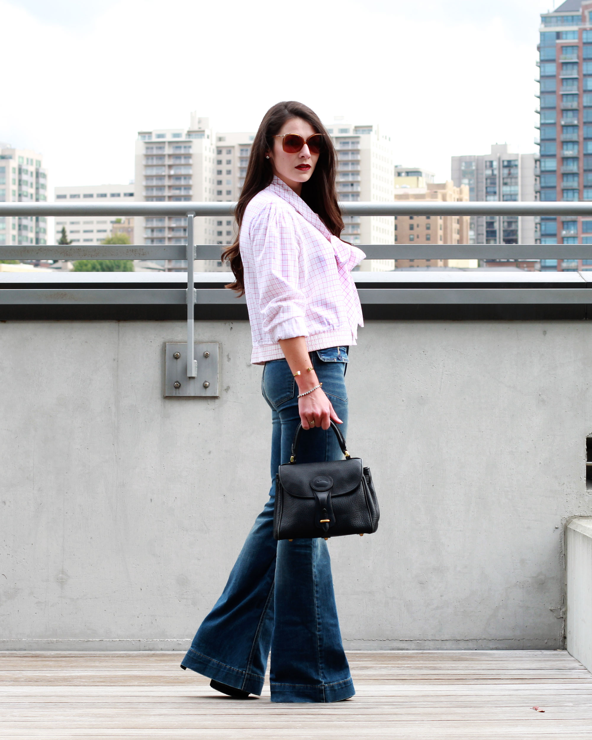 Fall Fashion, 70s Fashion Trend, Flare Jeans, Bow Blouse, Vintage Dior Sunglasses, Vintage Dooney & Bourke Bag, NARS Velvet Matte Lip Pencil in Cruella