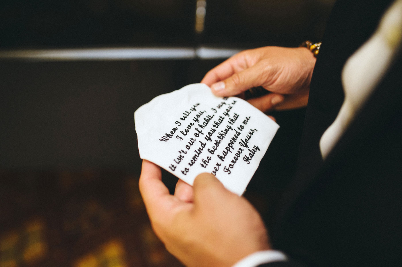 Me & Mr. Jones Wedding, Black Tie Wedding, Calvin Klein Black Slim Fit Tuxedo, Monogram Dress Shirt, Classic Groom, Gift for Groom, Embroidered Handkerchief