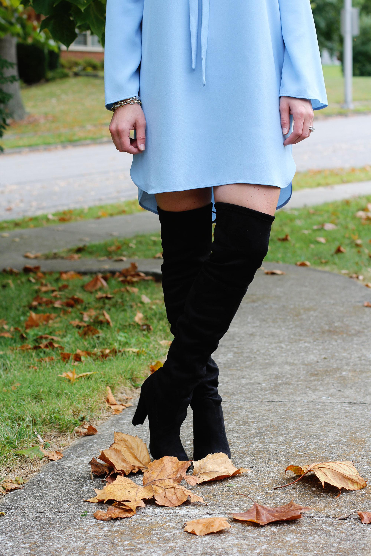 Fall Fashion, TOPSHOP Tie Neck Tunic Blouse, Steve Madden Gorgeous Over The Knee Boots, Maui Jim Black Aviator Sunglasses, David Yurman Oval Link Bracelet