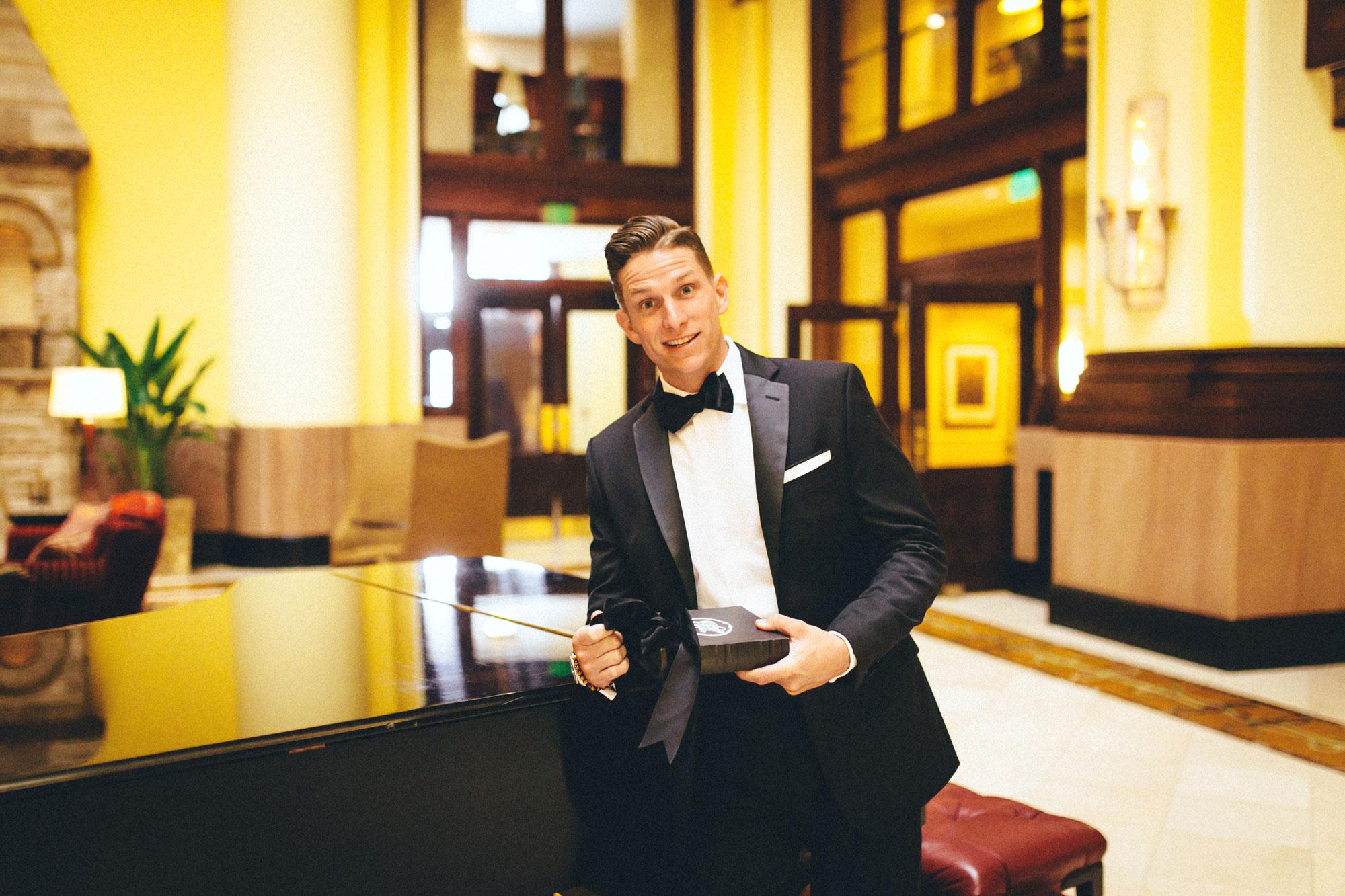 Me & Mr. Jones Wedding, Black Tie Wedding, Calvin Klein Black Slim Fit Tuxedo, Monogram Dress Shirt, Classic Groom