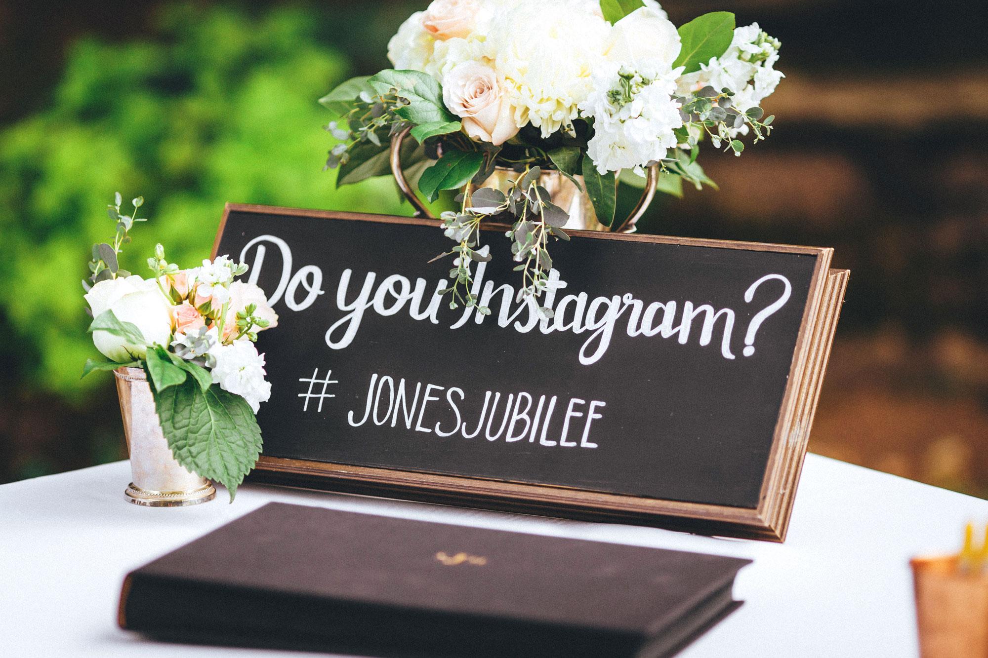 Me & Mr. Jones Wedding, Black Tie Wedding, Chalkboard Instagram Sign, Mint Julep Vases