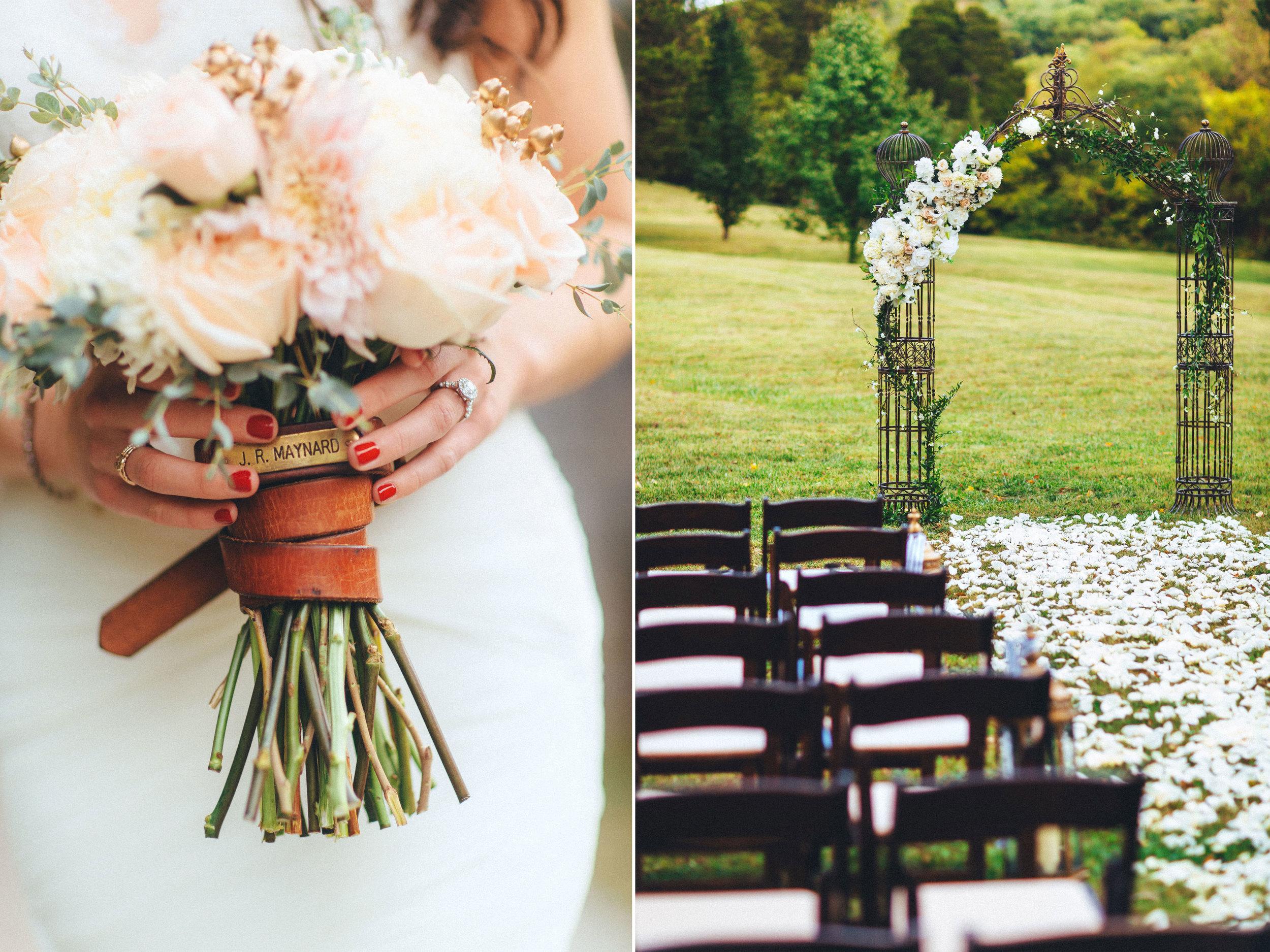 Me & Mr. Jones Wedding, Bride's Dad's Belt around Bouquet, Bouquet Embellishment, Black Tie Wedding at Cedarwood in Nashville, Statement Necklace, Glam Bride, Black White and Gold Wedding
