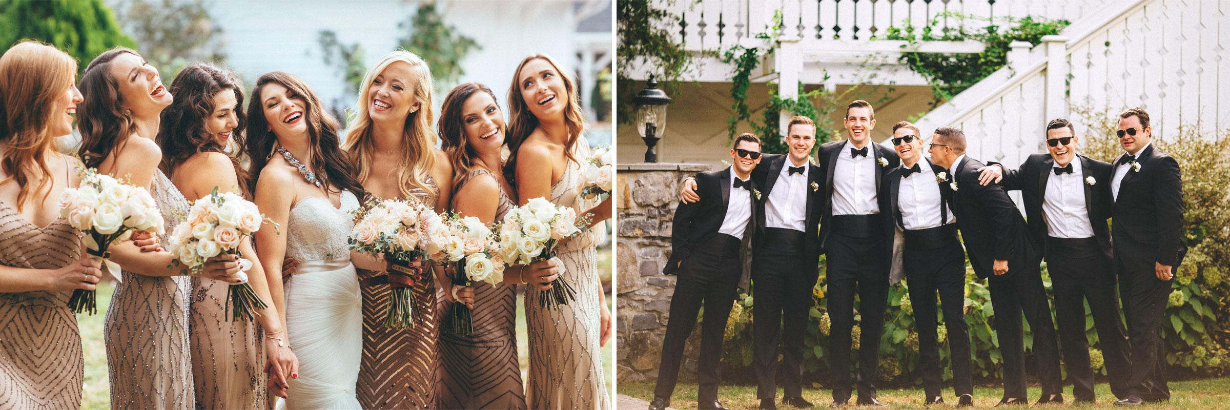 Me & Mr. Jones Wedding, Black Tie Wedding, Bridesmaids wearing Adrianna Papell Beaded Dresses, Embellished Bridesmaids Dresses, Black Tie Wedding, Blush Bridesmaids, Black Tuxedos