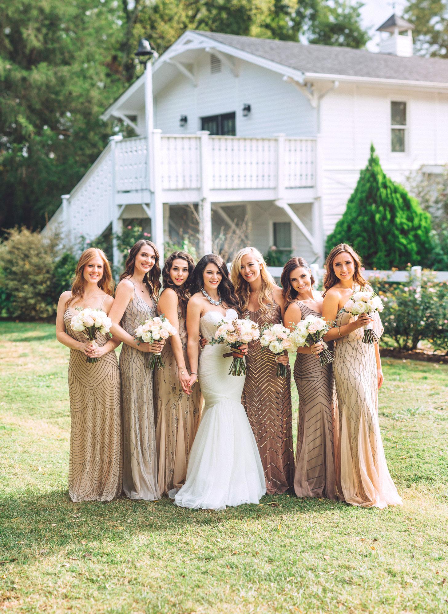 Me & Mr. Jones Wedding, Black Tie Wedding, Bridesmaids wearing Adrianna Papell Beaded Dresses, Embellished Bridesmaids Dresses, Black Tie Wedding, Blush Bridesmaids
