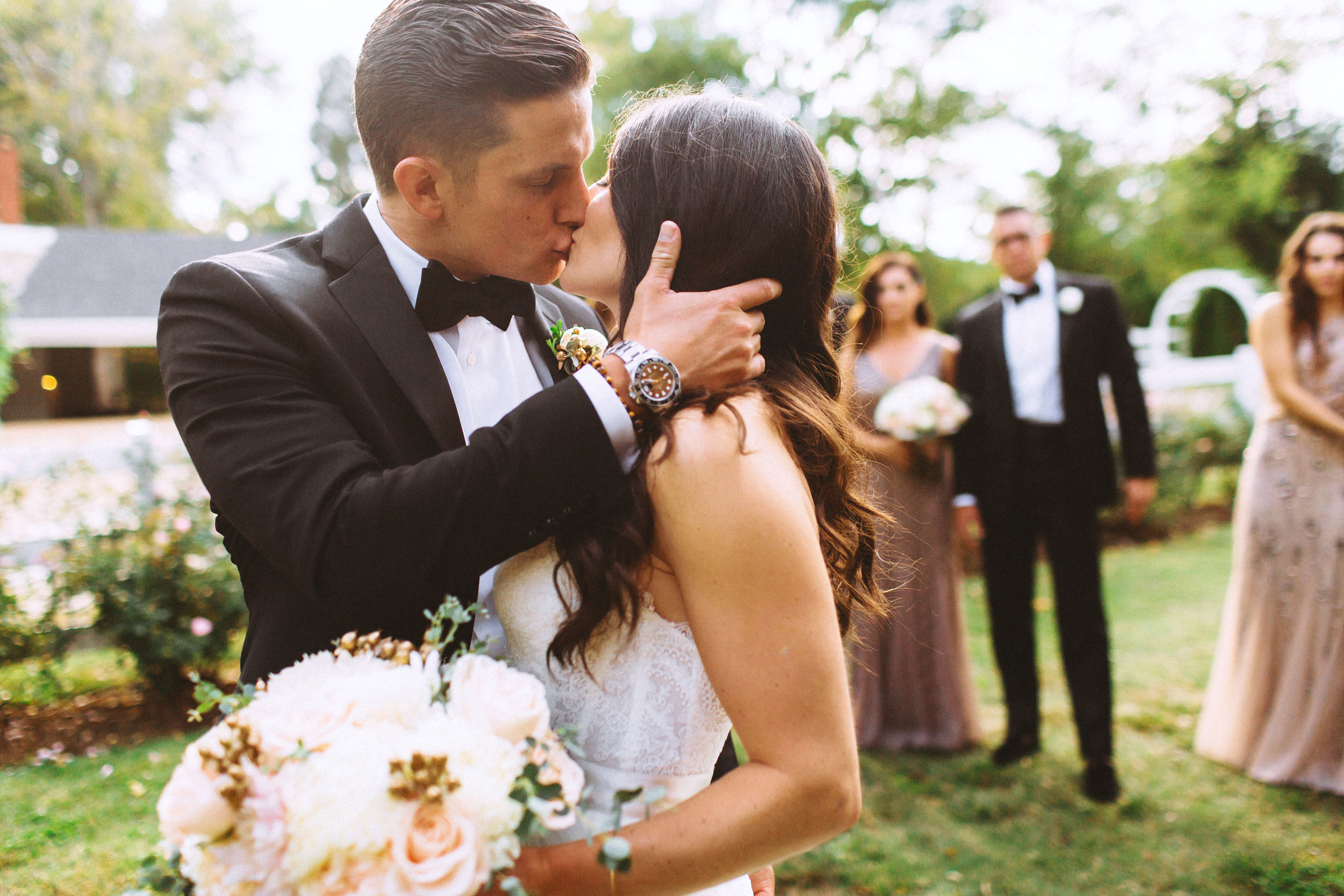 Me & Mr. Jones Wedding, Rustic Glam, Black Tie Wedding, Watters Carina Corset, Watters Amina Skirt, Blush Flowers, Gold Wedding, Rolex GMT Master II