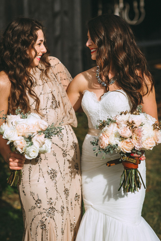 Me & Mr. Jones Wedding, Bride's Dad's Belt around Bouquet, Bouquet Embellishment, Black Tie Wedding at Cedarwood in Nashville, Statement Necklace, Glam Bride, Adrianna Papell One Shoulder Dress