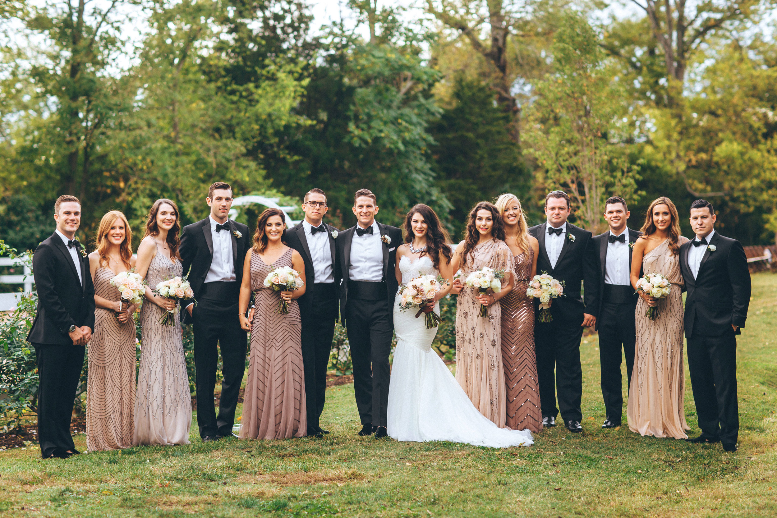 Me & Mr. Jones Wedding, Black Tie Wedding, Bridesmaids wearing Adrianna Papell Beaded Dresses, Embellished Bridesmaids Dresses, Black Tie Wedding in Nashville, Wedding Party Photo