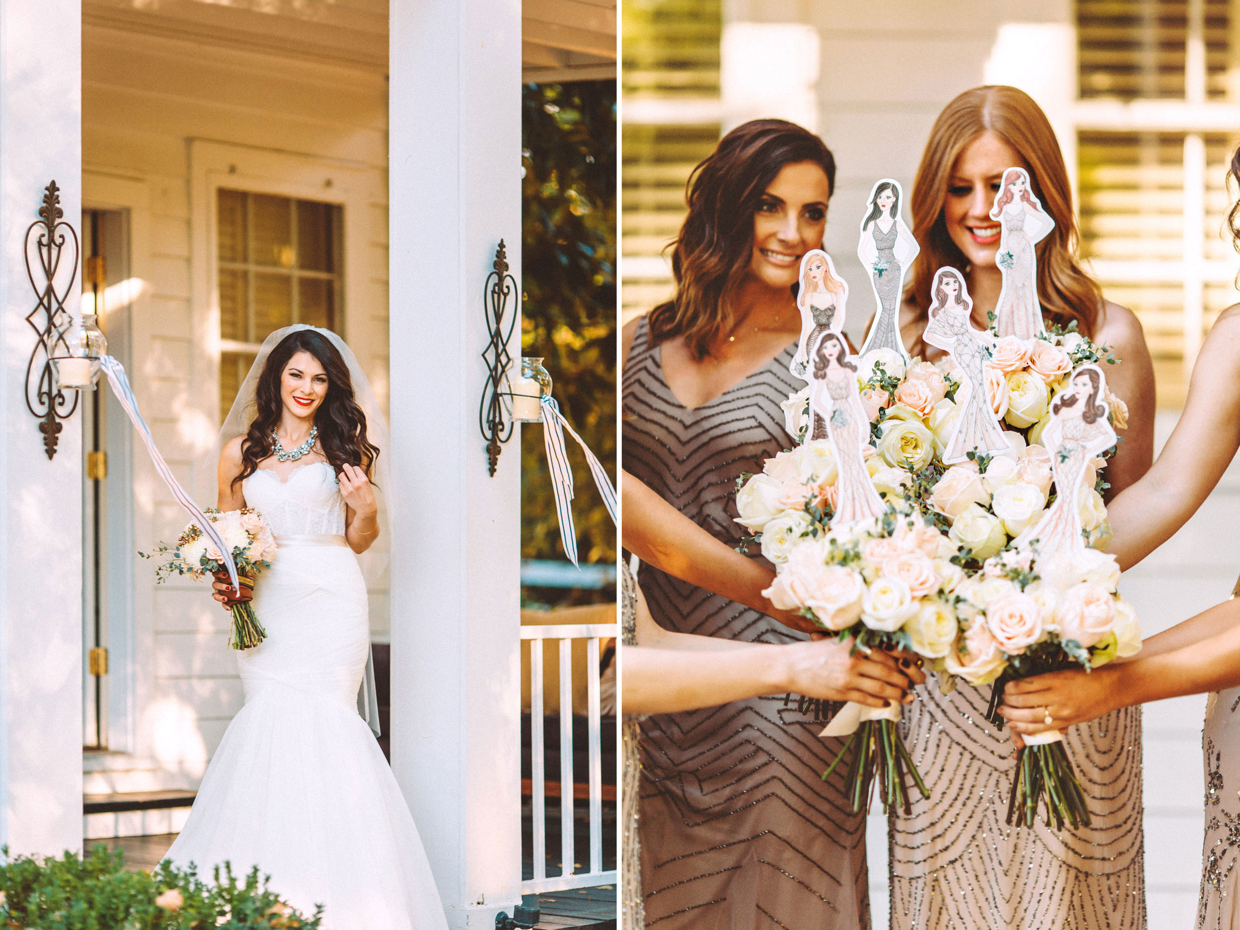 Me & Mr. Jones Wedding, Watters Carina Corset, Watters Amina Skirt, Historic Cedarwood in Nashville, Fashion Illustrations of Bridesmaids