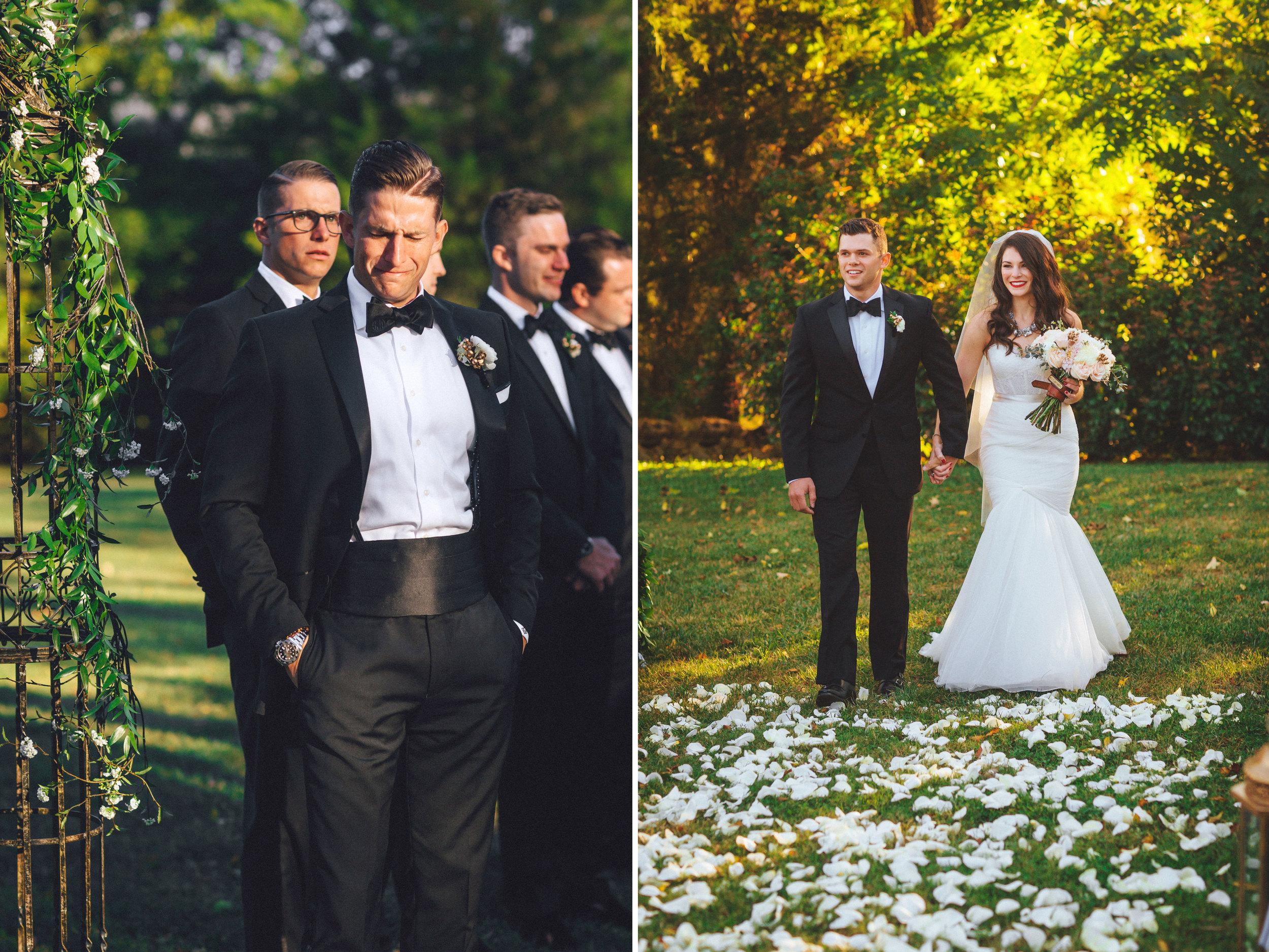 Me & Mr. Jones Wedding, Outdoor Wedding Ceremony, Rose Petals on Aisle, White Rose Petal Aisle
