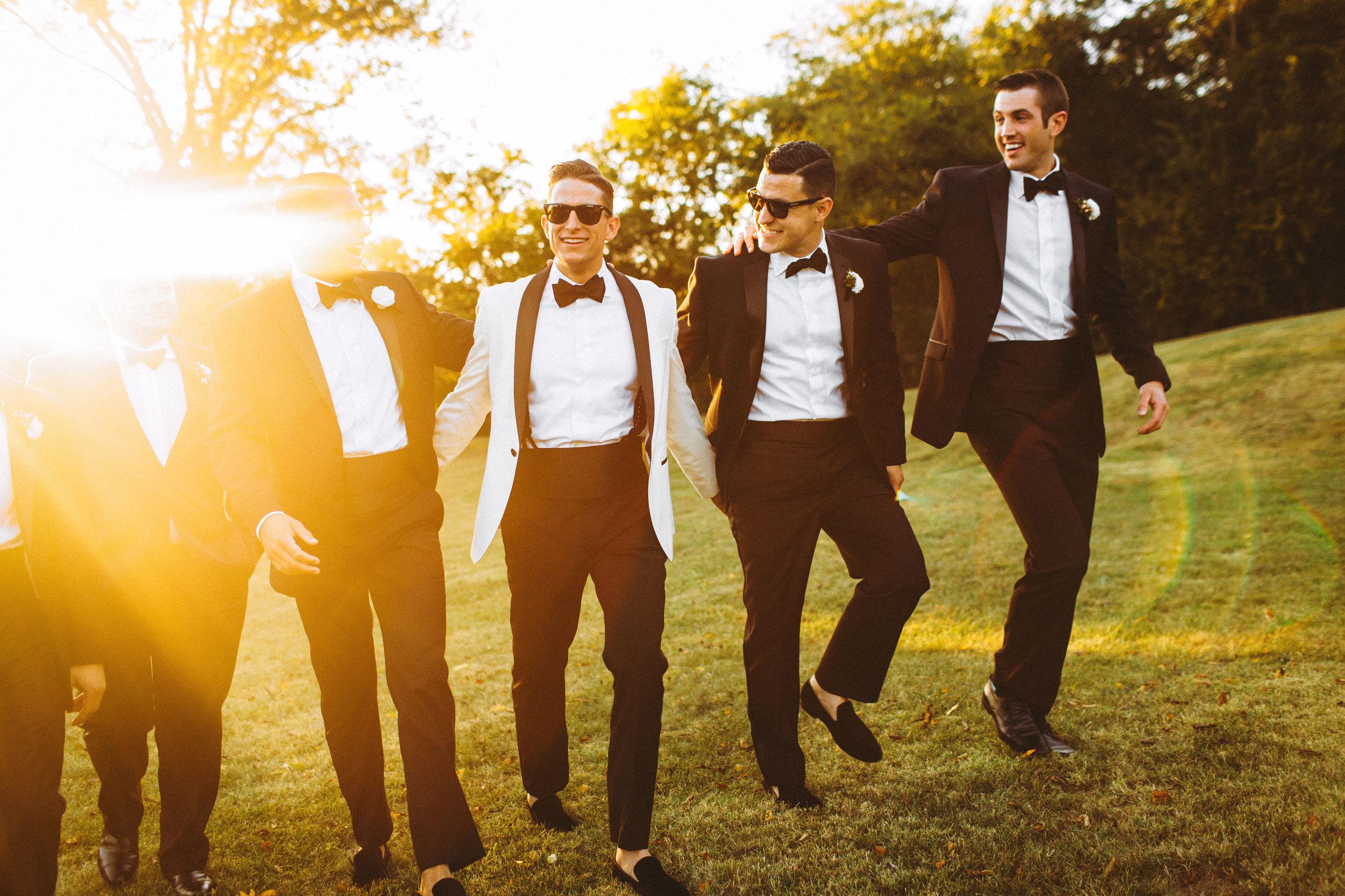 Me & Mr. Jones Wedding, Funny Groomsmen Pictures, Black Tie Wedding, Calvin Klein Slim Fit Black Tuxedos, Groom Wearing White ASOS Tuxedo