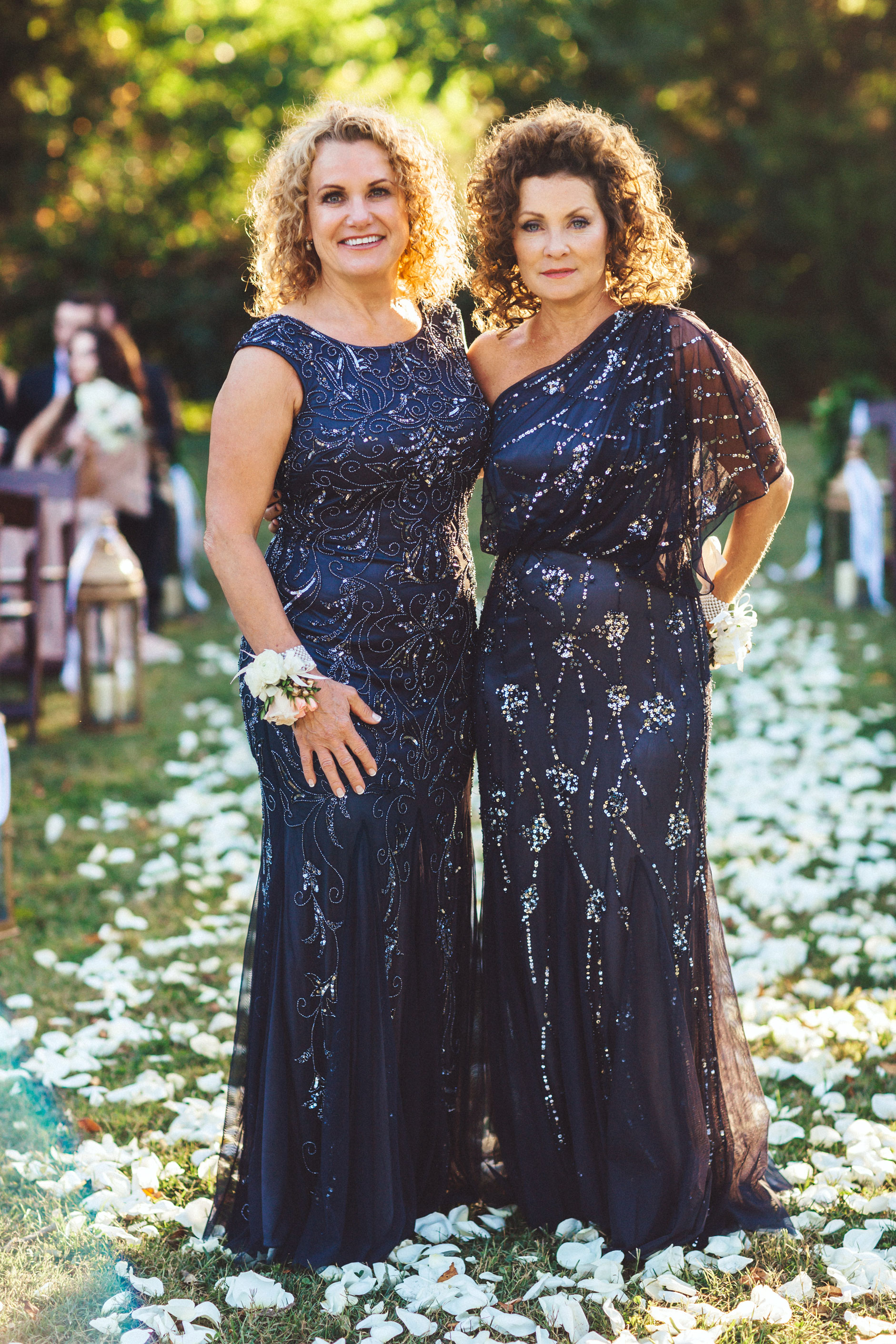 Me & Mr. Jones Wedding, Mother of The Bride, Mother of the Groom, Adrianna Papell Beaded Gown, Matching Mothers, Black Tie Wedding, Adrianna Papell One Shoulder Gown