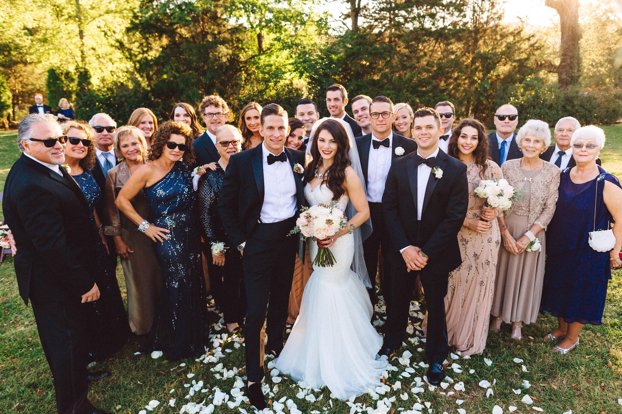 Me & Mr. Jones Wedding, Black Tie Wedding, Bridesmaids wearing Adrianna Papell Beaded Dresses, Embellished Bridesmaids Dresses, Black Tie Wedding in Nashville, Informal Family Wedding Photo