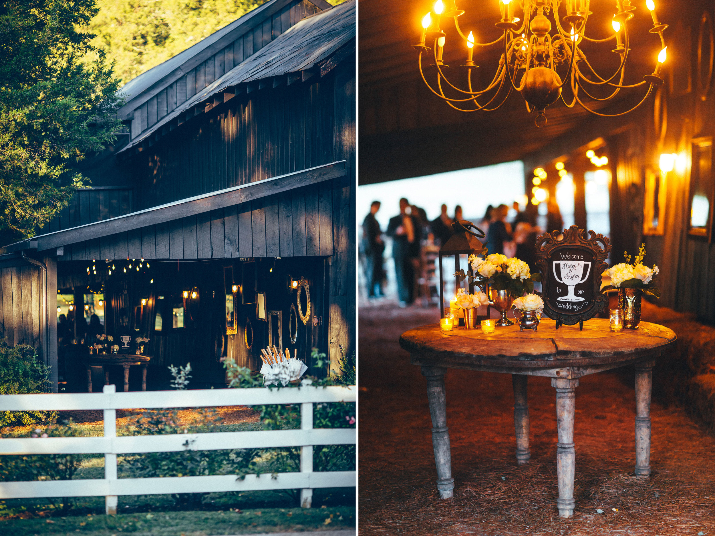 Me & Mr. Jones Wedding, Cocktail Hour in the Barn, Black Tie Wedding, Rustic Glam Wedding