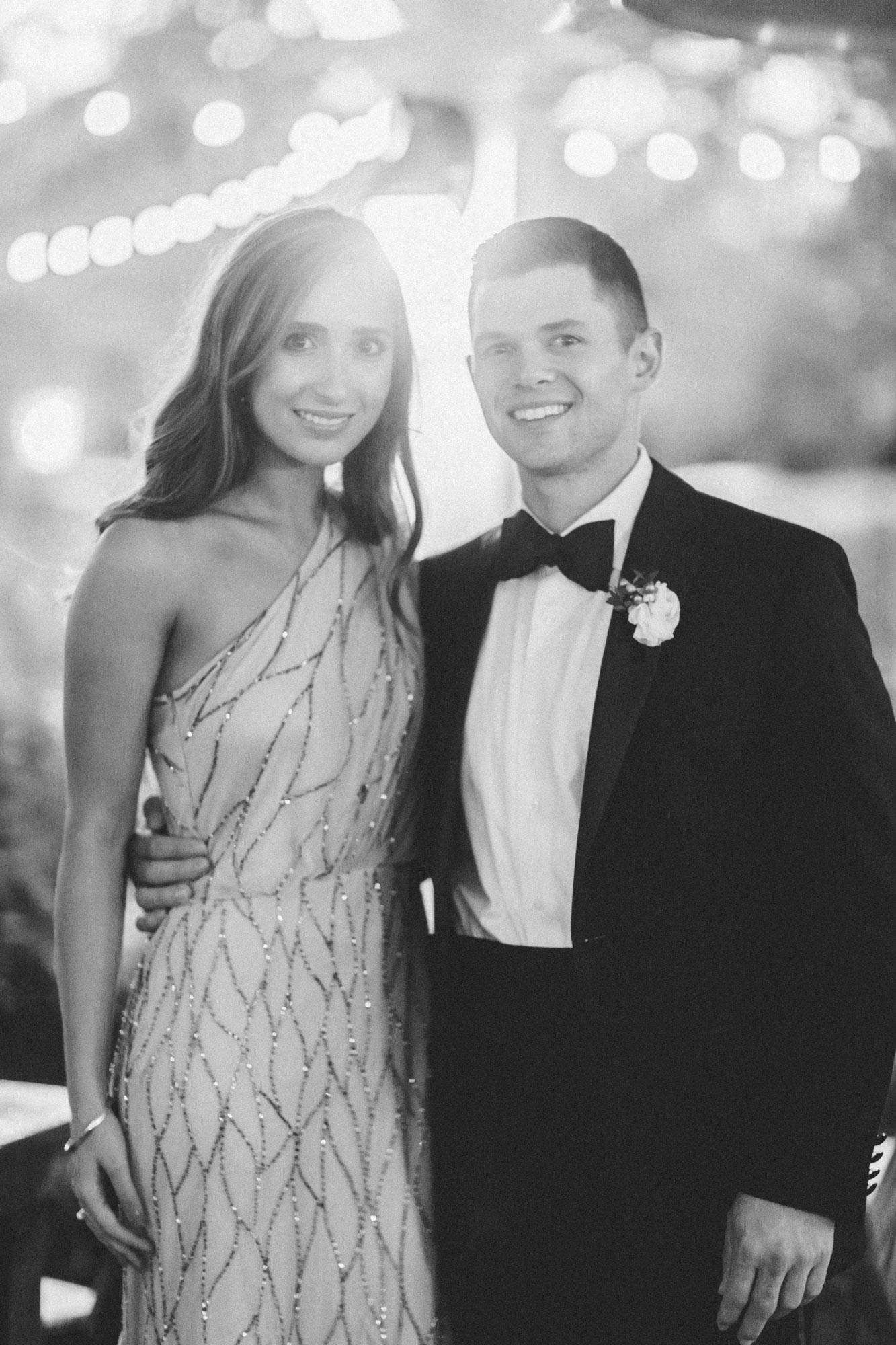 Me & Mr. Jones Wedding, Black Tie Wedding, Adrianna Papell Beaded One Shoulder Gown, Calvin Klein Black Slim Fit Tuxedo