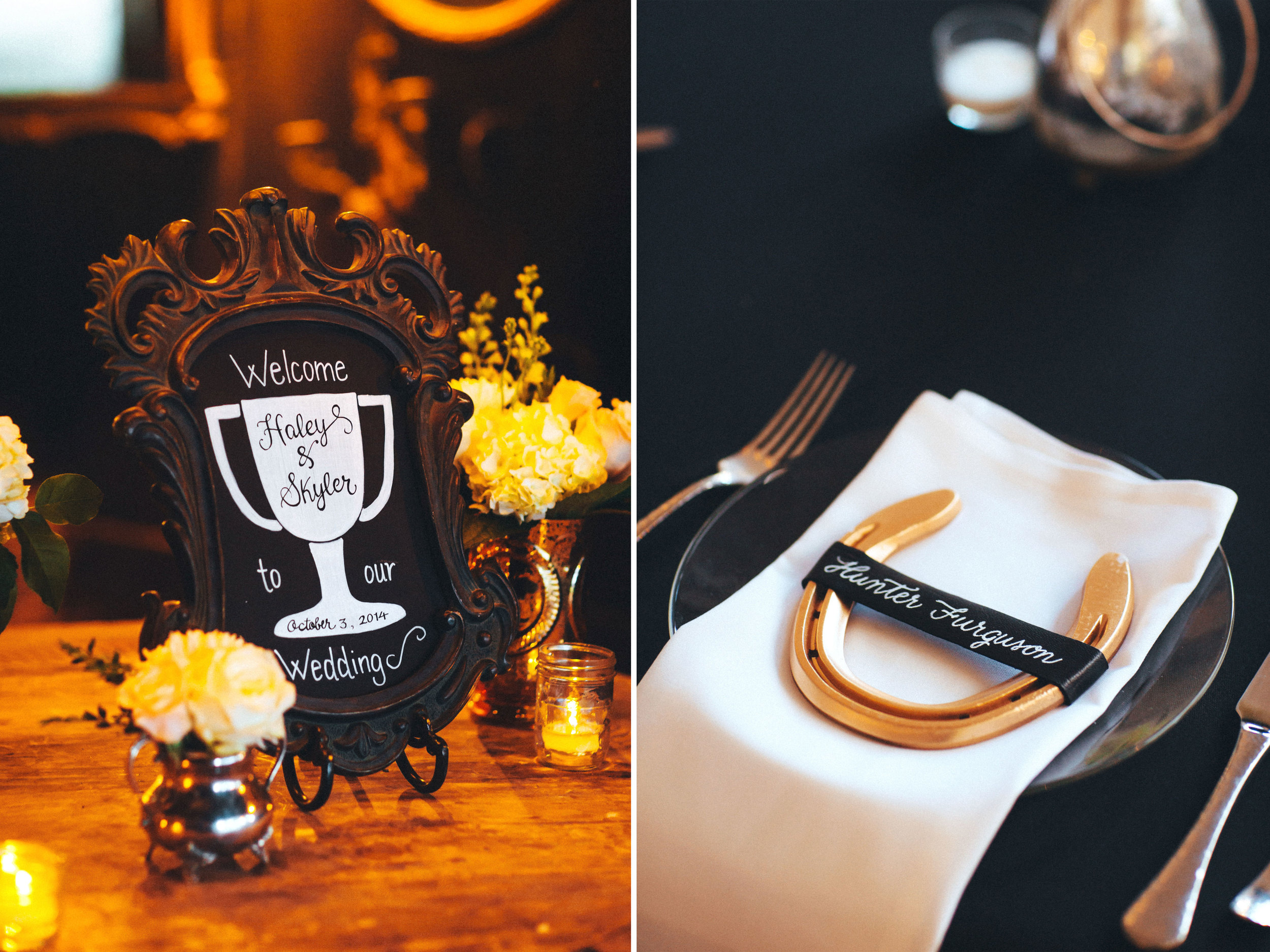 Me & Mr. Jones Wedding, Equestrian Inspired Wedding Decor, Horseshoe Place Cards, Gold Horseshoes, Gold Wedding, Rusic Glam Wedding, Black Tablecloths, Barnwood Tables