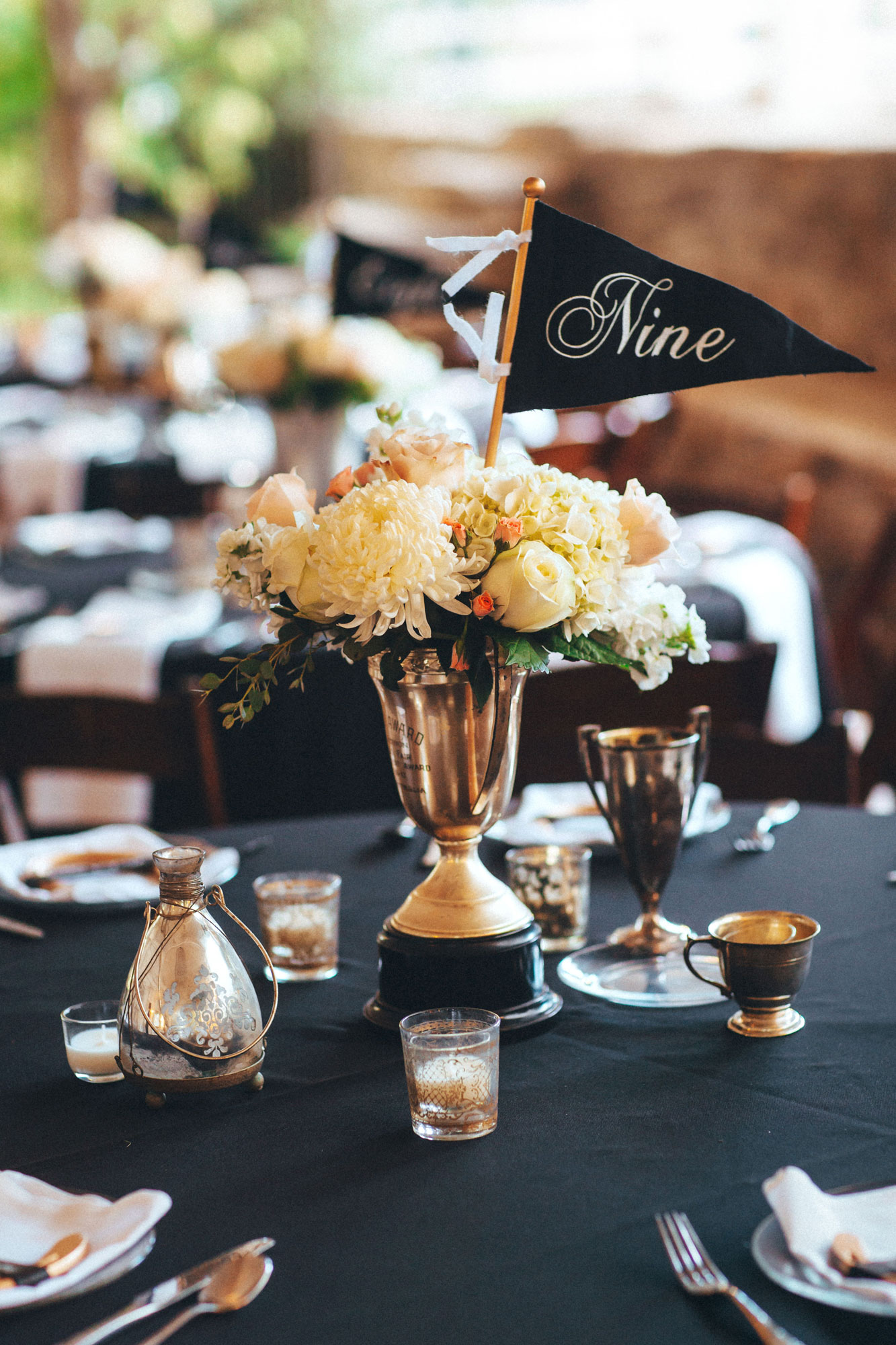 Me & Mr. Jones Wedding, Antique Trophy Cup Vases, DIY Pennant Table Numbers, Equestrian Inspired Wedding Decor, Horseshoe Place Cards, Gold Horseshoes, Gold Wedding, Rusic Glam Wedding