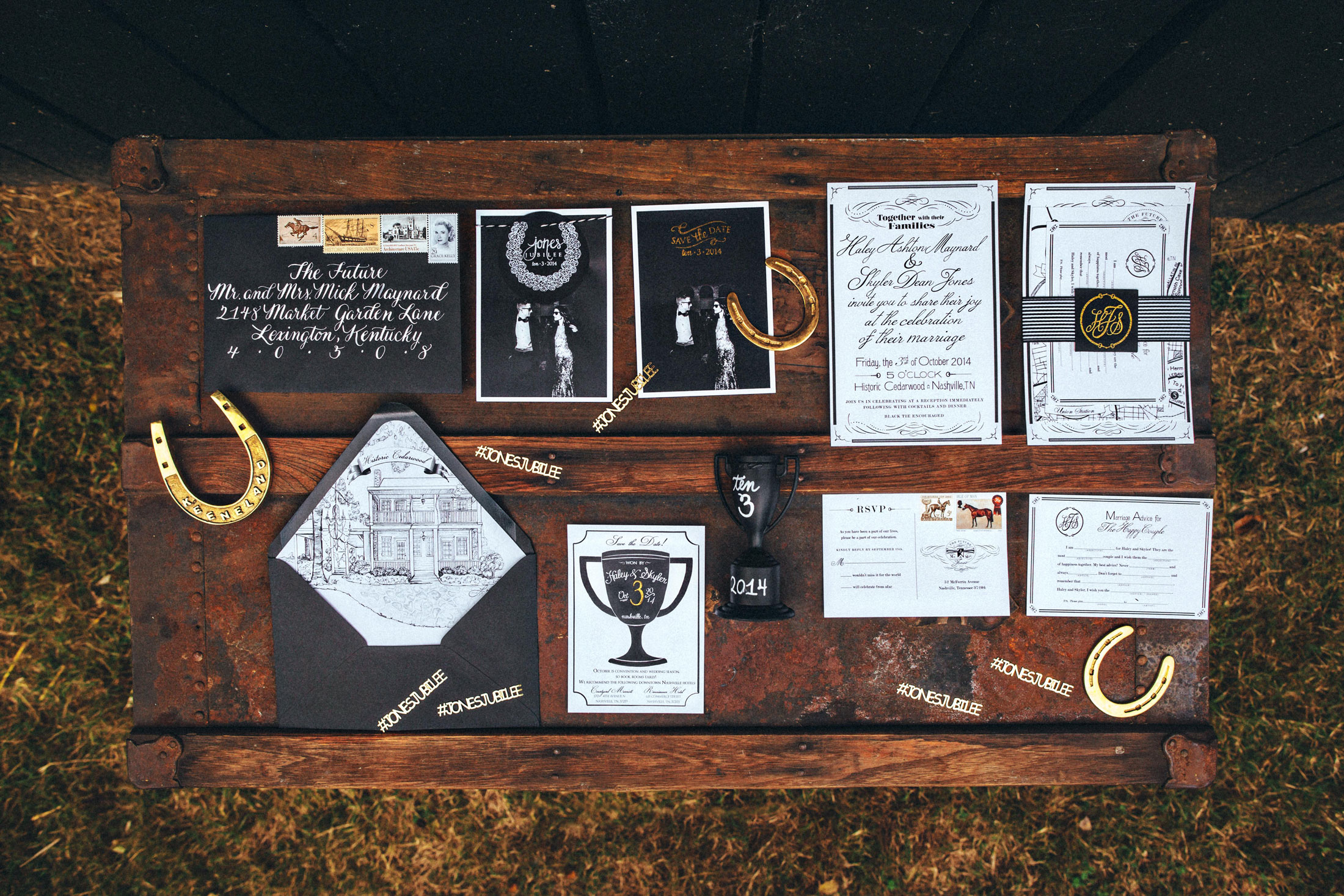 Me & Mr. Jones Wedding, Black White and Gold Wedding, Rustic Glam Wedding Invitations, Hand Drawn Wedding Map, White Calligraphy on Black Envelopes