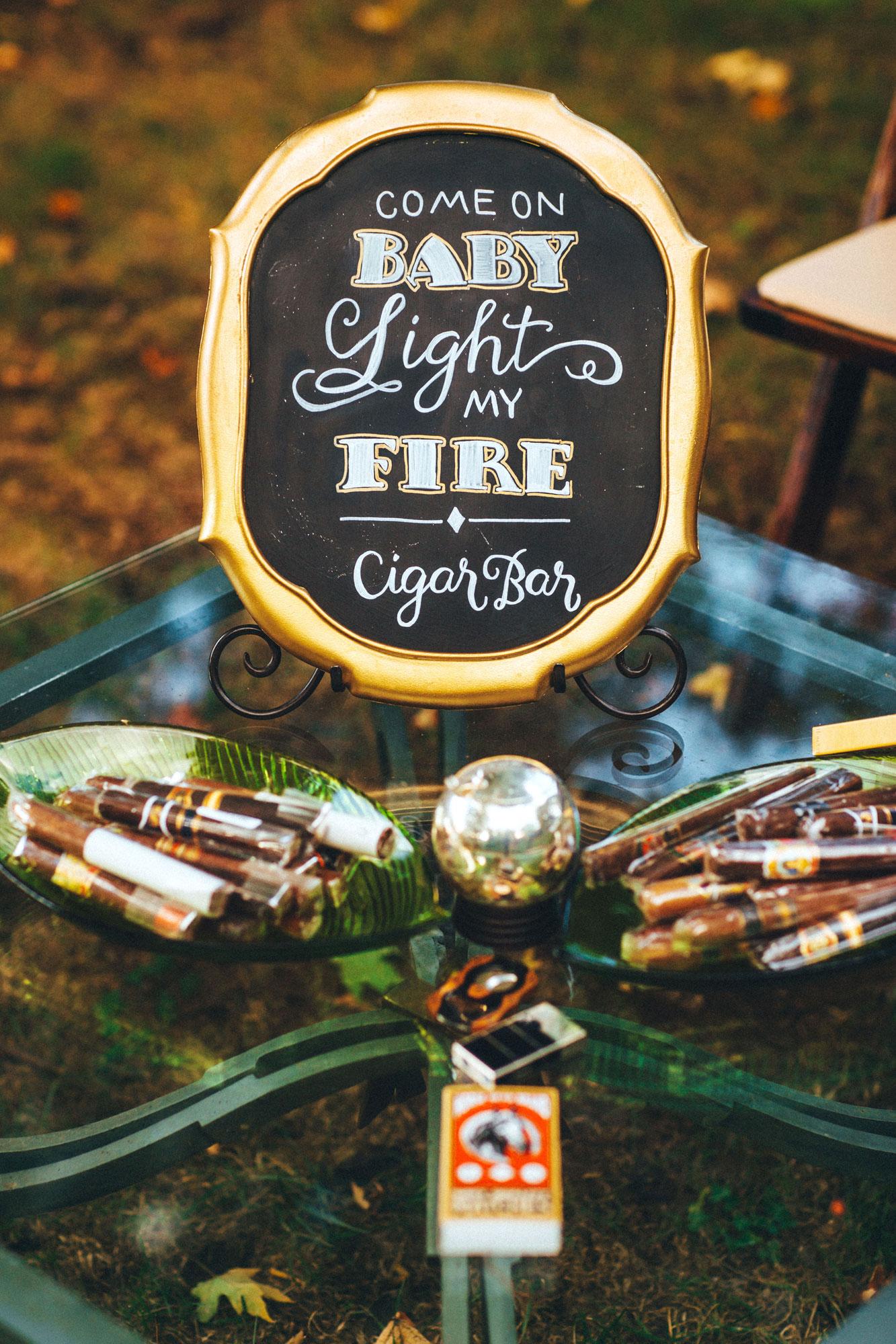 Me & Mr. Jones Wedding, Cigar Bar, Gold Frame Chalkboard Sign