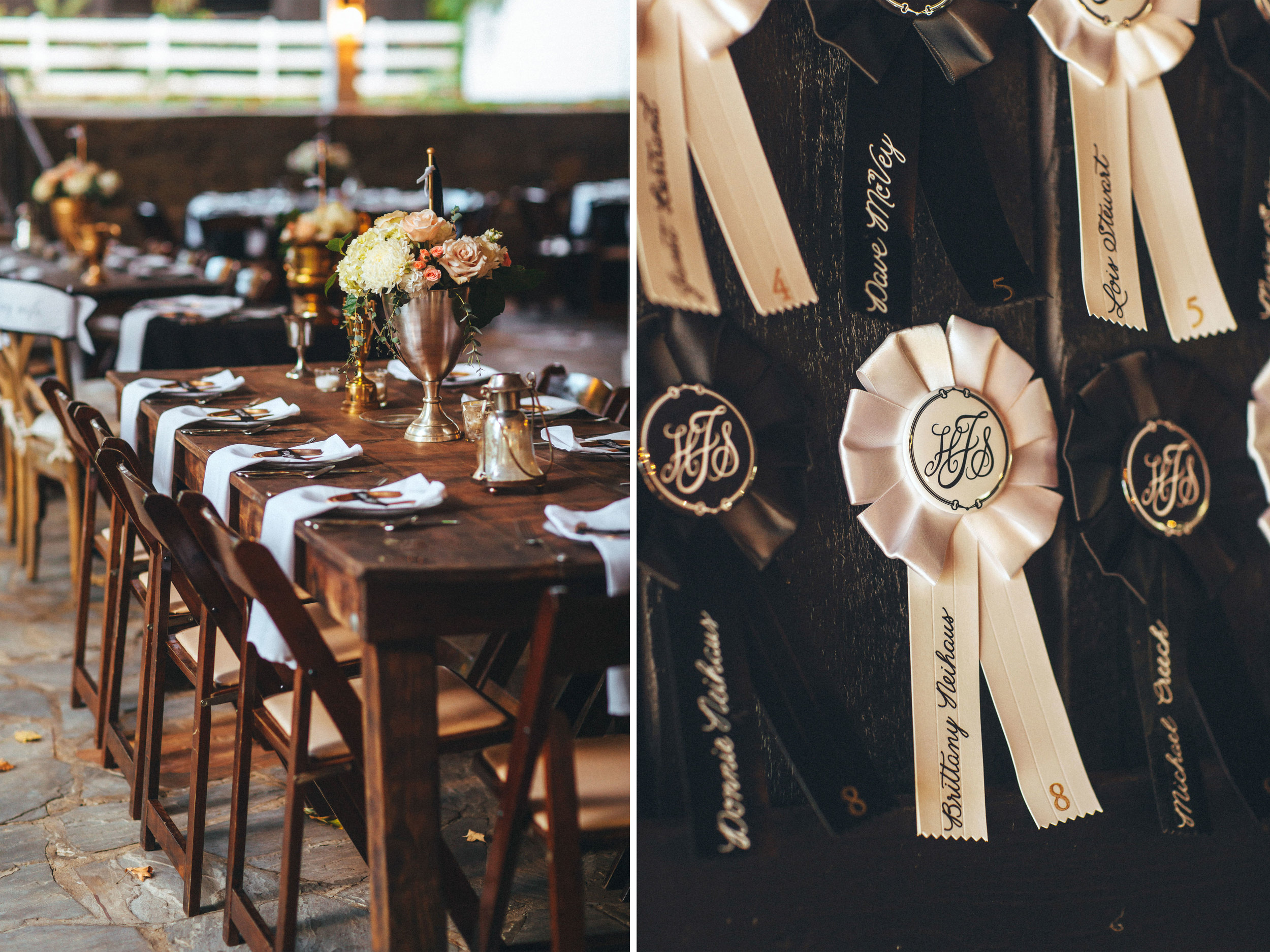 Me & Mr. Jones Wedding, Farm Tables, Gold Wedding, Black Tie Wedding, DIY Rosette Escort Cards, Equestrian Inspired Wedding Decor
