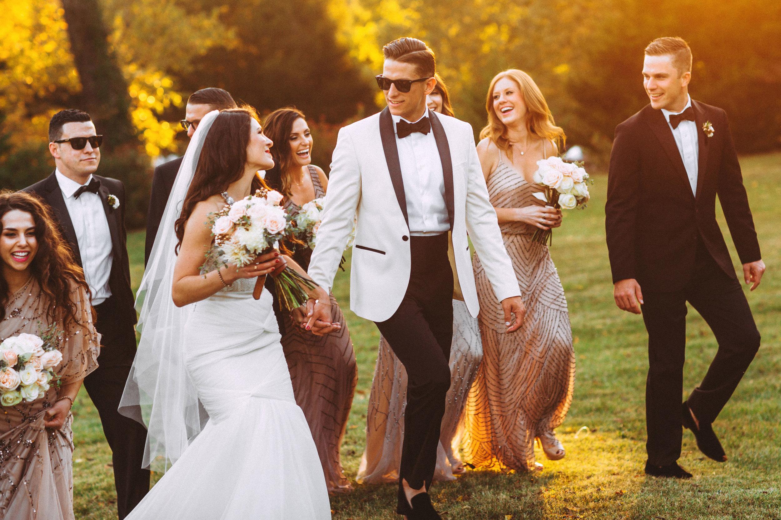 Me & Mr. Jones Wedding, Informal Wedding Party Photos, Black Tie Wedding, Groom Wearing White ASOS Tuxedo, Watters Carina Corset, Watters Amina Skirt