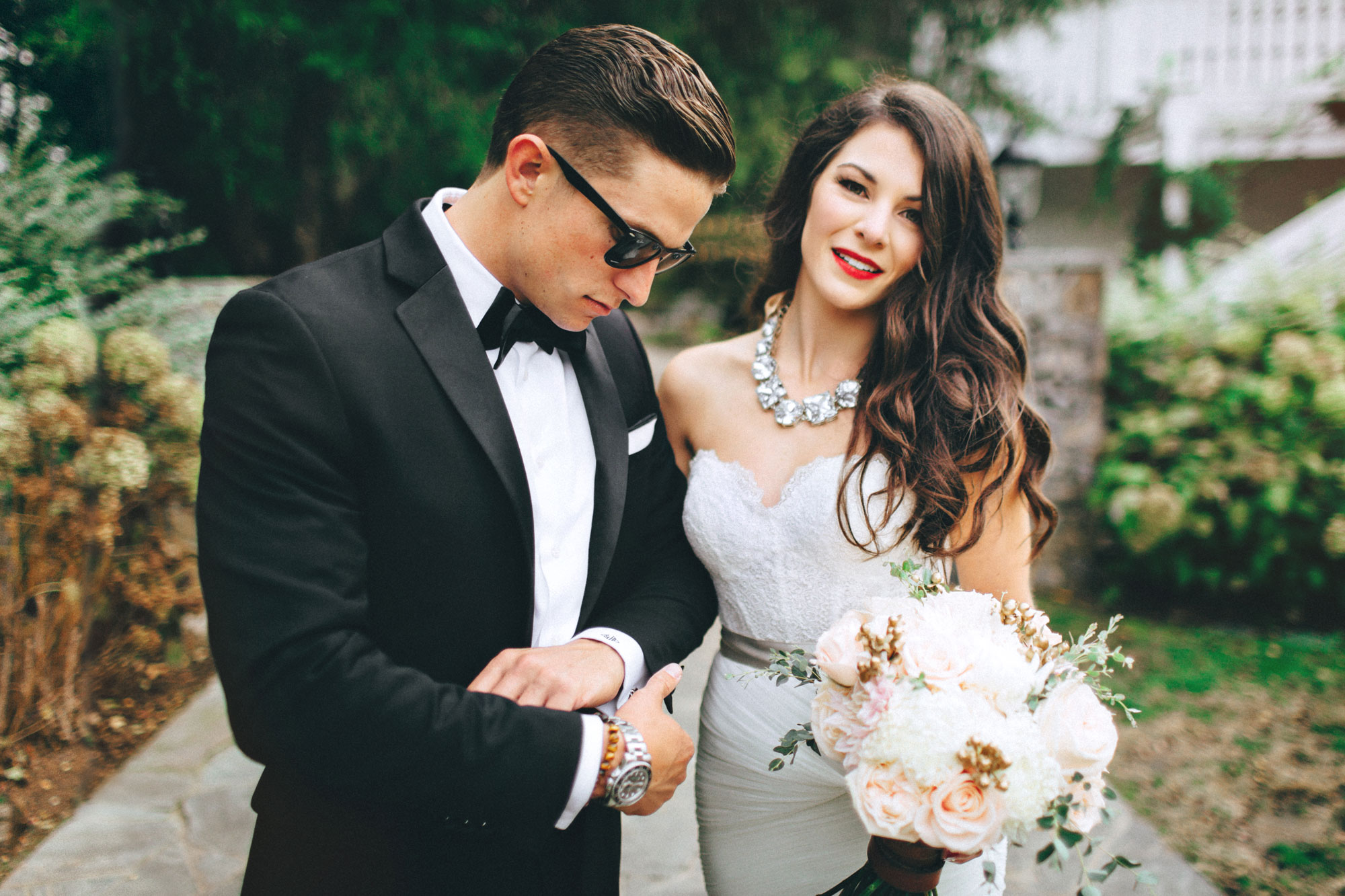 Me & Mr. Jones Wedding, Black Tie Wedding at Cedarwood in Nashville, Statement Necklace, Glam Bride, Black White and Gold Wedding