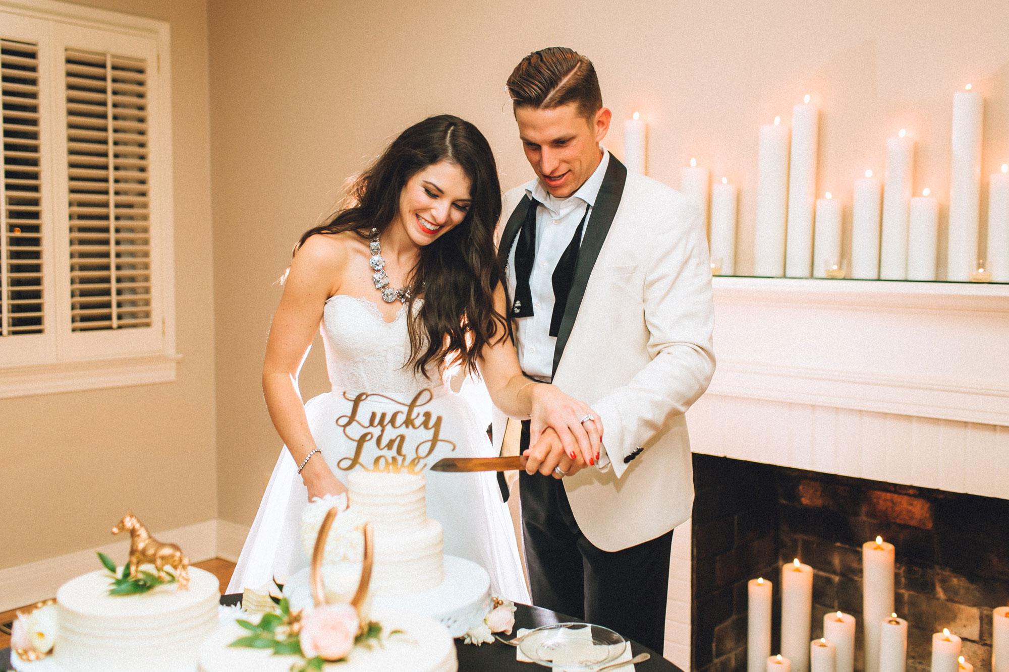 Me & Mr. Jones Wedding, Cutting the Cake, Funfetti Cake, Lasercut Lucky in Love Cake Topper, Gold Wedding, Black Tie Wedding in Nashville, TN