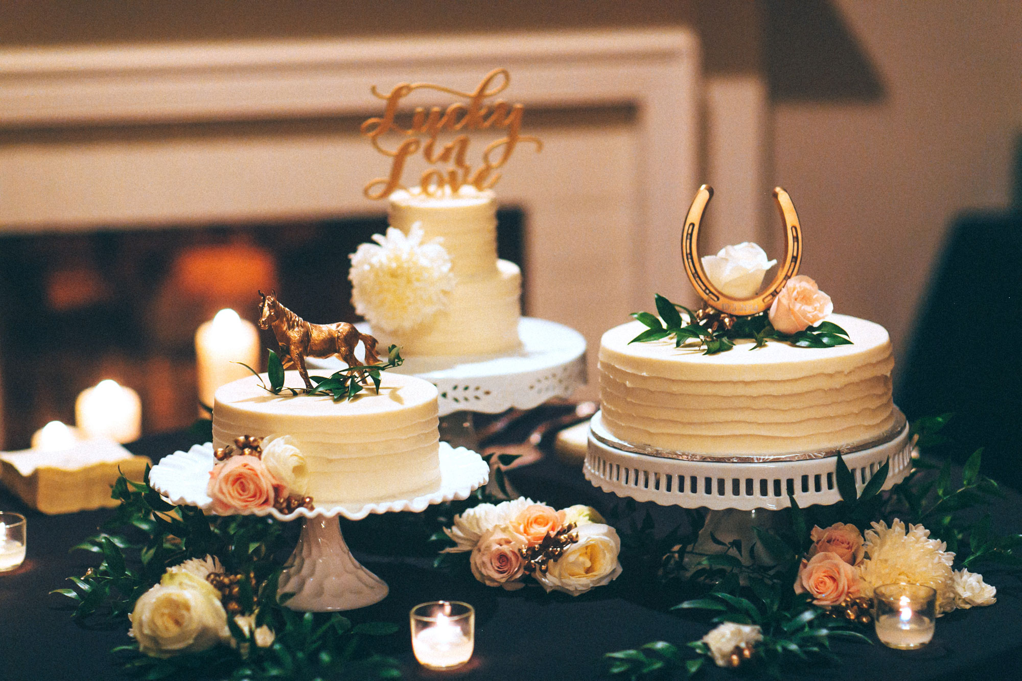 Me & Mr. Jones Wedding, Equestrian Inspired Decor, Three Separate Cakes, Lucky In Love Cake Topper, Gold Horse Cake Topper, Horseshoe with Wedding Date Cake Topper, Funfetti Wedding Cake