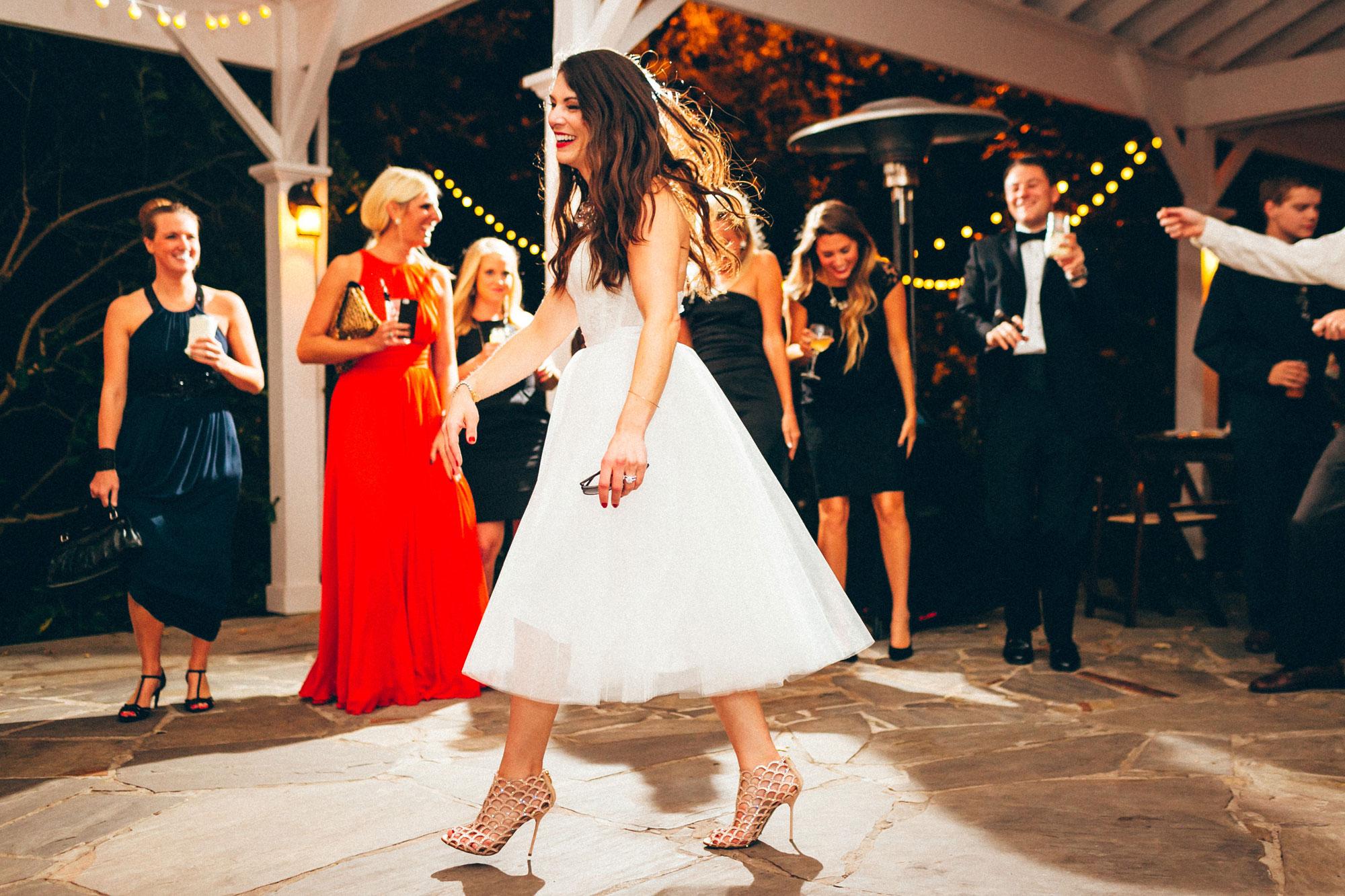 Me & Mr. Jones Wedding, Outdoor Reception at Cedarwood in Nashville, Bride Wearing MAC 'Ruby Woo' Lipstick, Watters Carina Corset, Space 46 Tulle Skirt, Sergio Rossi Mermaid Booties