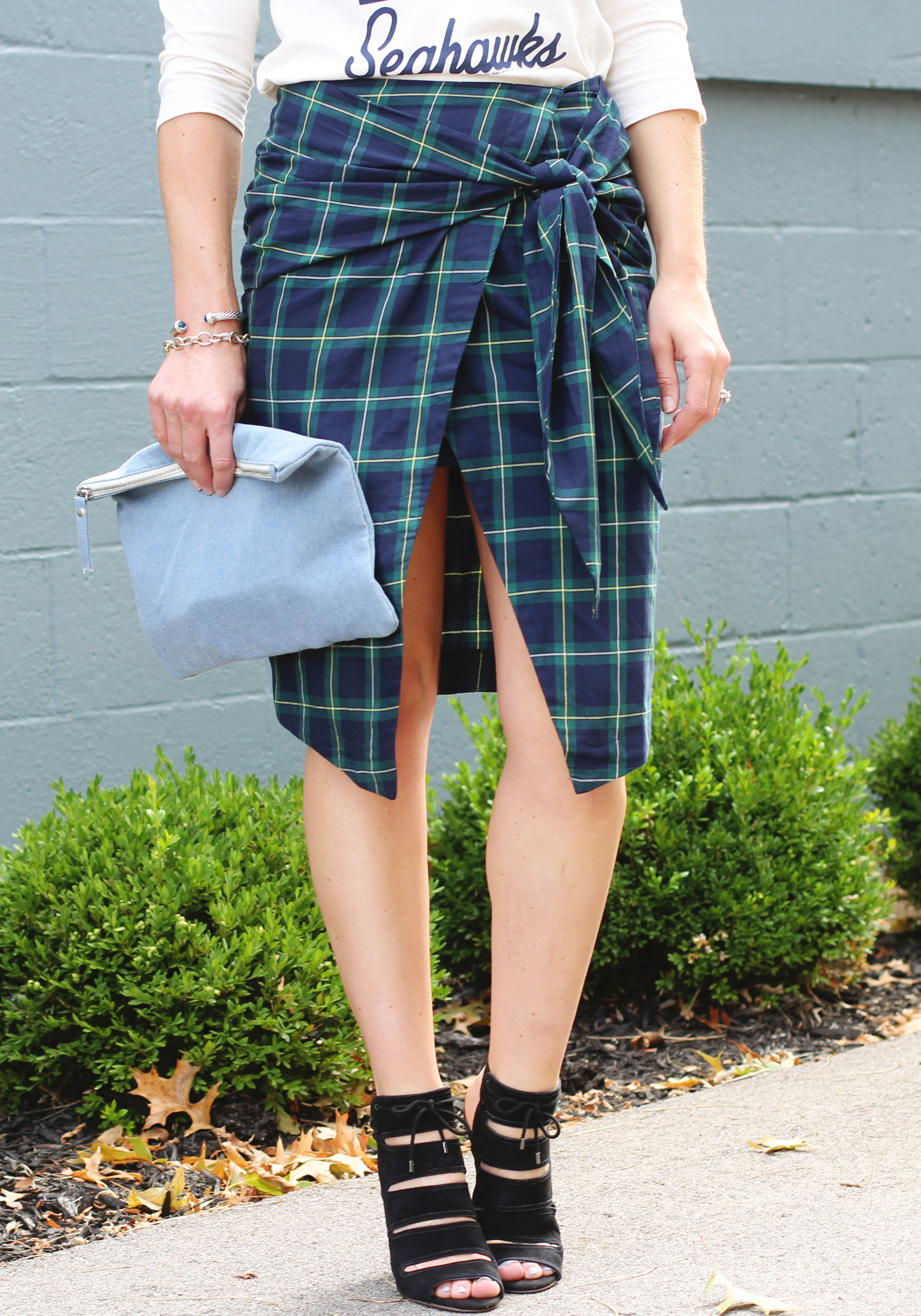 Fall Fashion, JOA Tie Front Skirt, Plaid Skirt, Seattle Seahawks Raglan, Seychelles 'Play Along' Pumps, Forever 21 Unstructured Denim Clutch