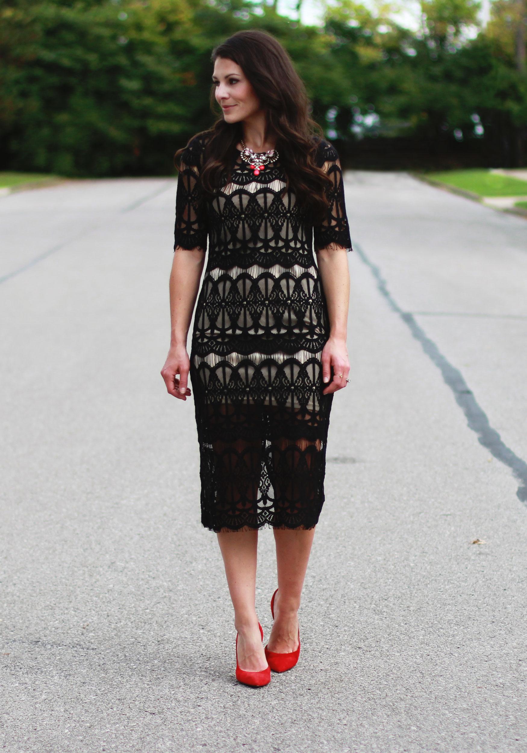 Fall Fashion, JOA Lace Body-Con Dress, Wedding Guest Attire, Statement Necklace, Midi Dress, Jessica Simpson Claudette Pumps