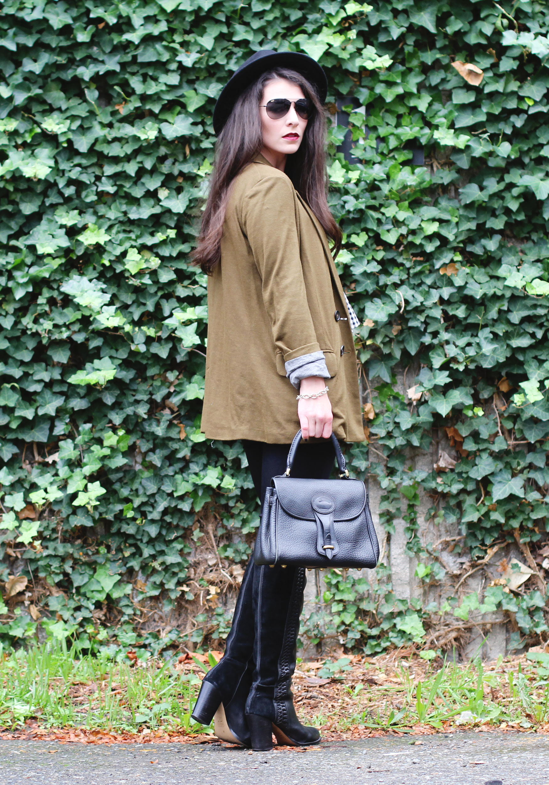 Fall Fashion, Dolce Vita Over The Knee Boots, Black Wool Fedora, J.Crew Jersey Blazer, and Zara Peplum Top
