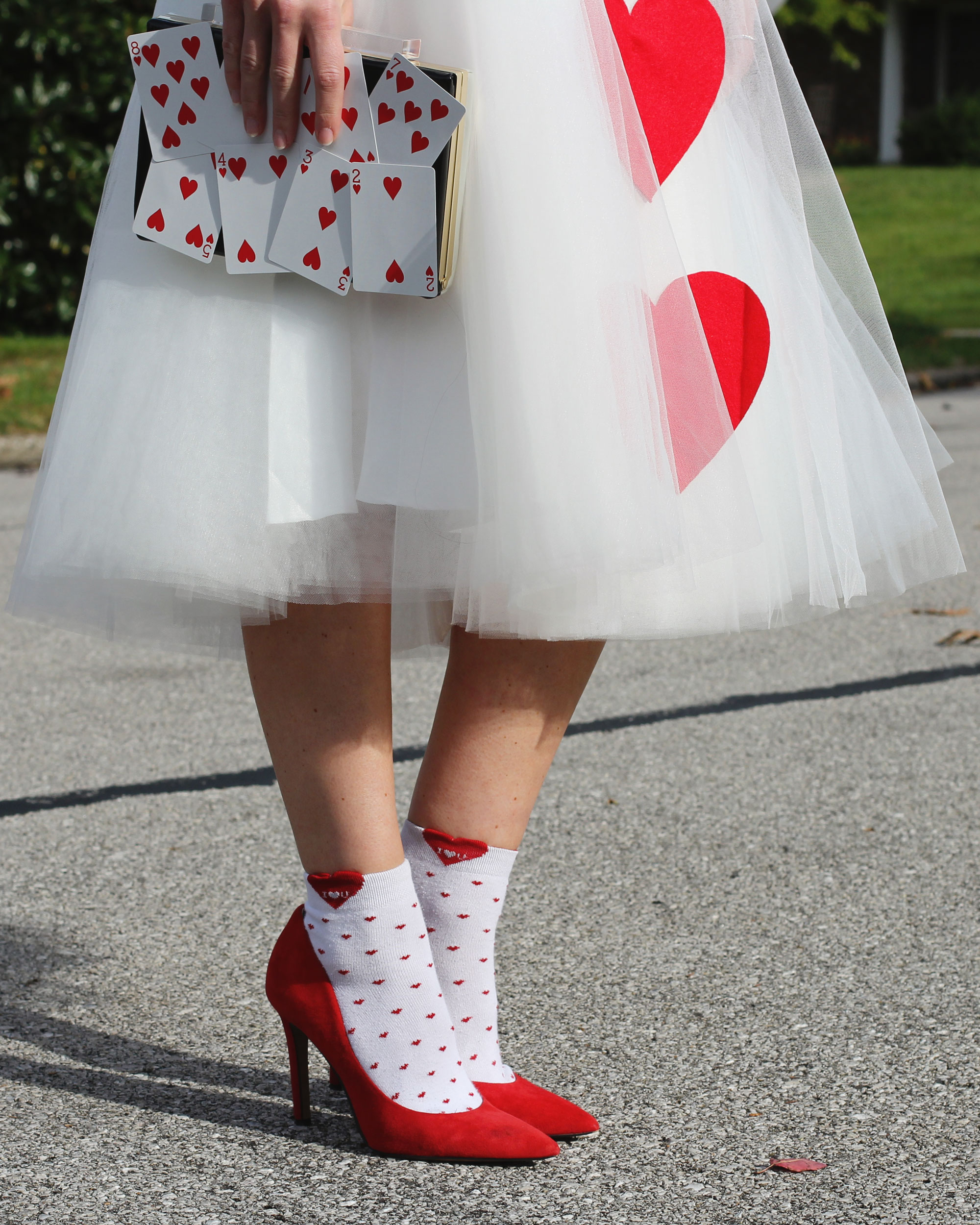 Queen of Hearts Costume, LC Lauren Conrad for Kohls Fringe Crop Top, Space 46 Tulle Skirt, Jessica Simpson Claudette Pumps, Socks with Pumps, DIY Halloween Costume, Cheap & Easy Halloween Costume