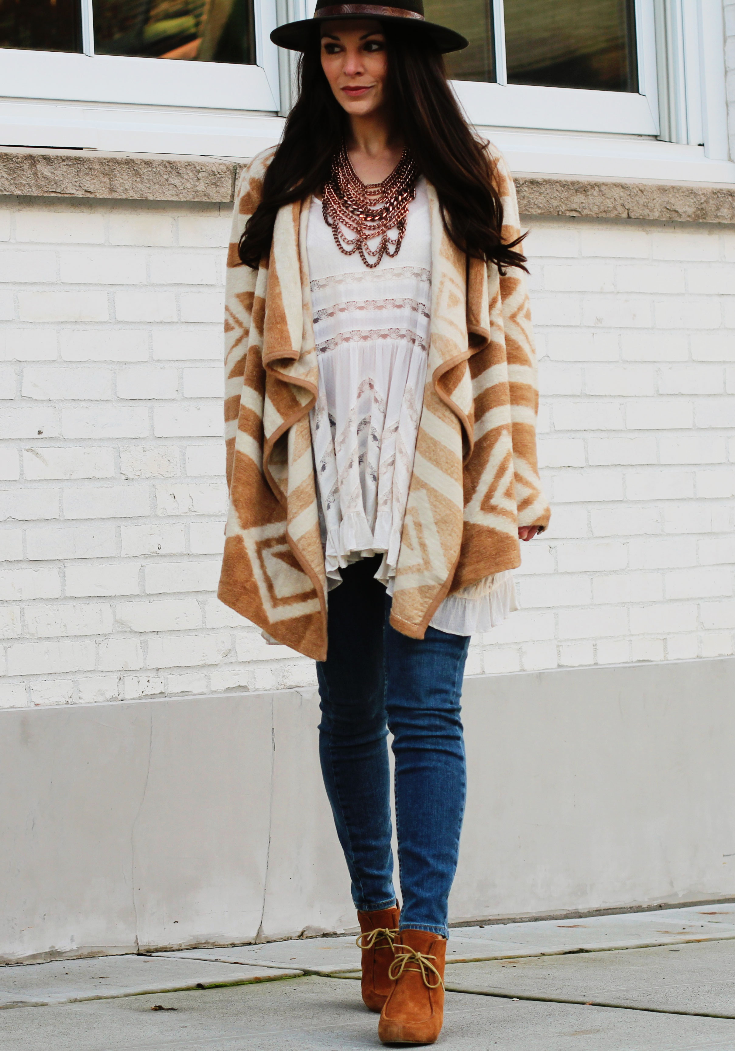 Fall Outfit, Bar III Aztec Print Flyaway Cardigan, Free People Trapeze Top, Paige Ankle Jeans, Dolce Vita Booties, Forever 21 Fedora