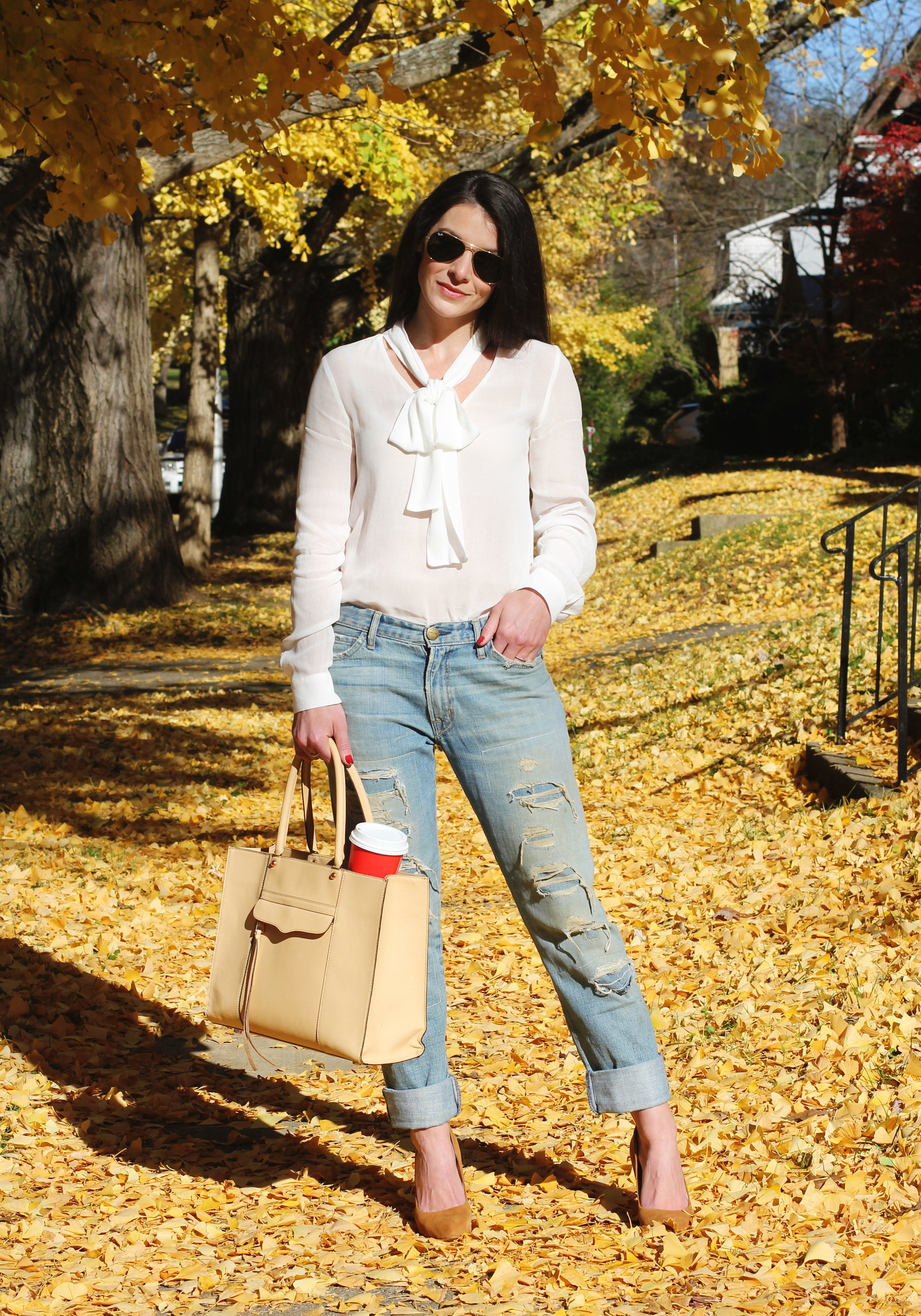 Fall Outfit, Thanksgiving Outfit, Current Elliott Boyfriend Jeans, Zara Bow Blouse, Tan Suede Pumps, Rebecca Minkoff Medium MAB Tote, Ombre Nail Polish