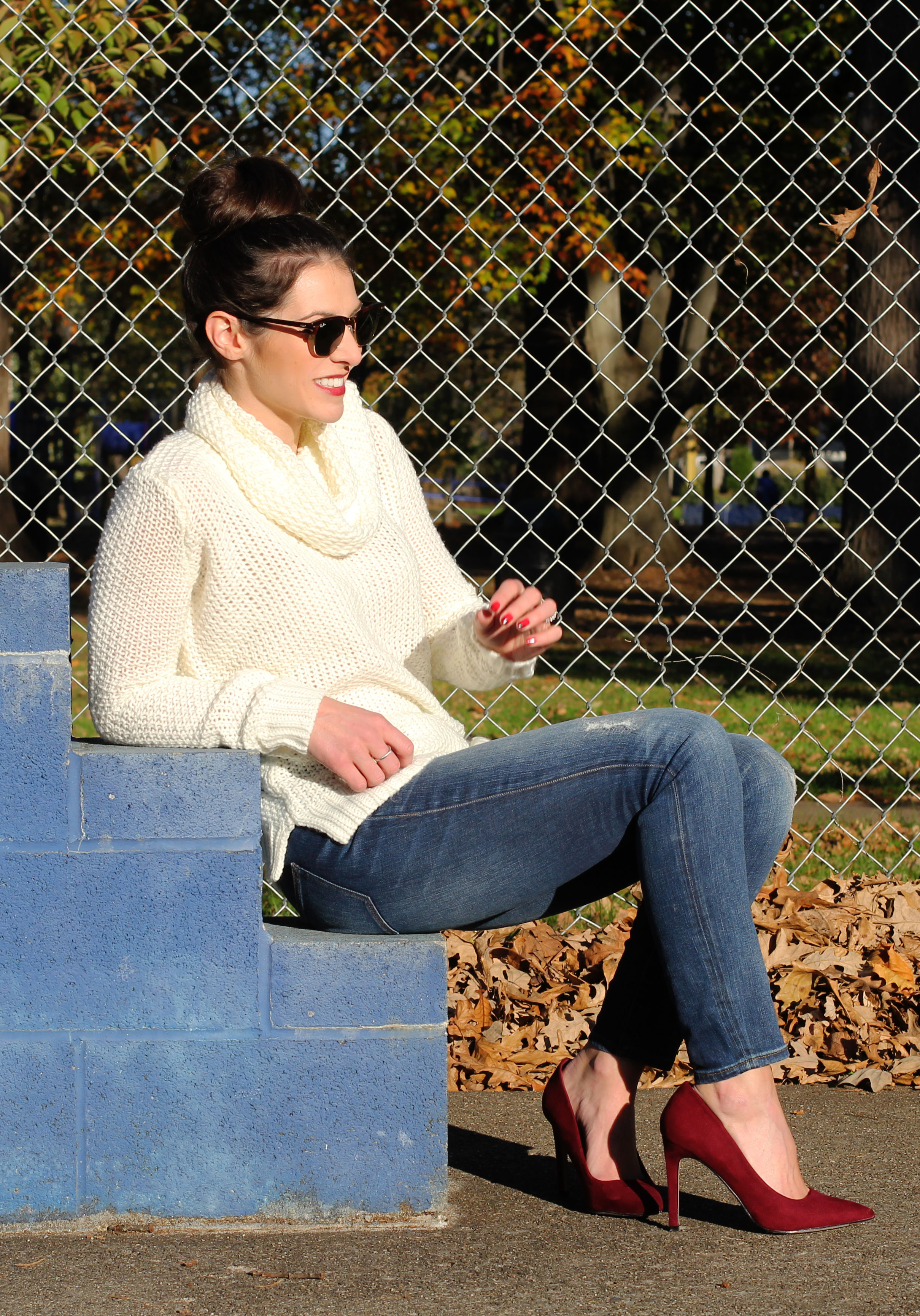 Winter Outfit, Turtleneck Sweater, J.Crew Skinny Jeans, Wine Pumps, Wine Rebecca Minkoff Envelope Clutch, Ray-Ban Clubmaster Sunglasses, Wine Faux Leather Moto Jacket, Fashion Blogger Winter Style
