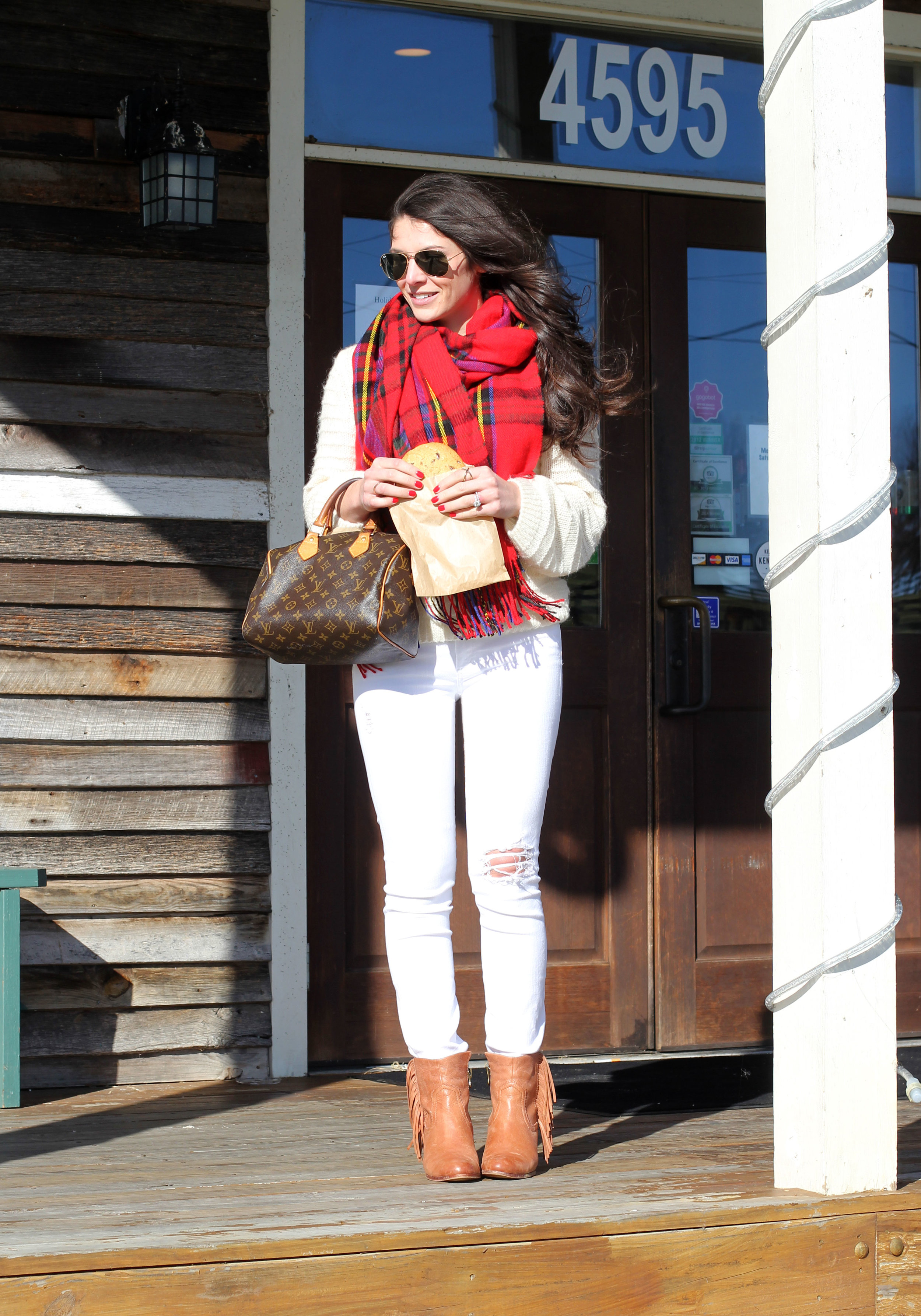 Winter White Outfit, White Jeans with White Sweater, Sam Edelman Booties, Louis Vuitton Speedy 25, Red Blanket Scarf