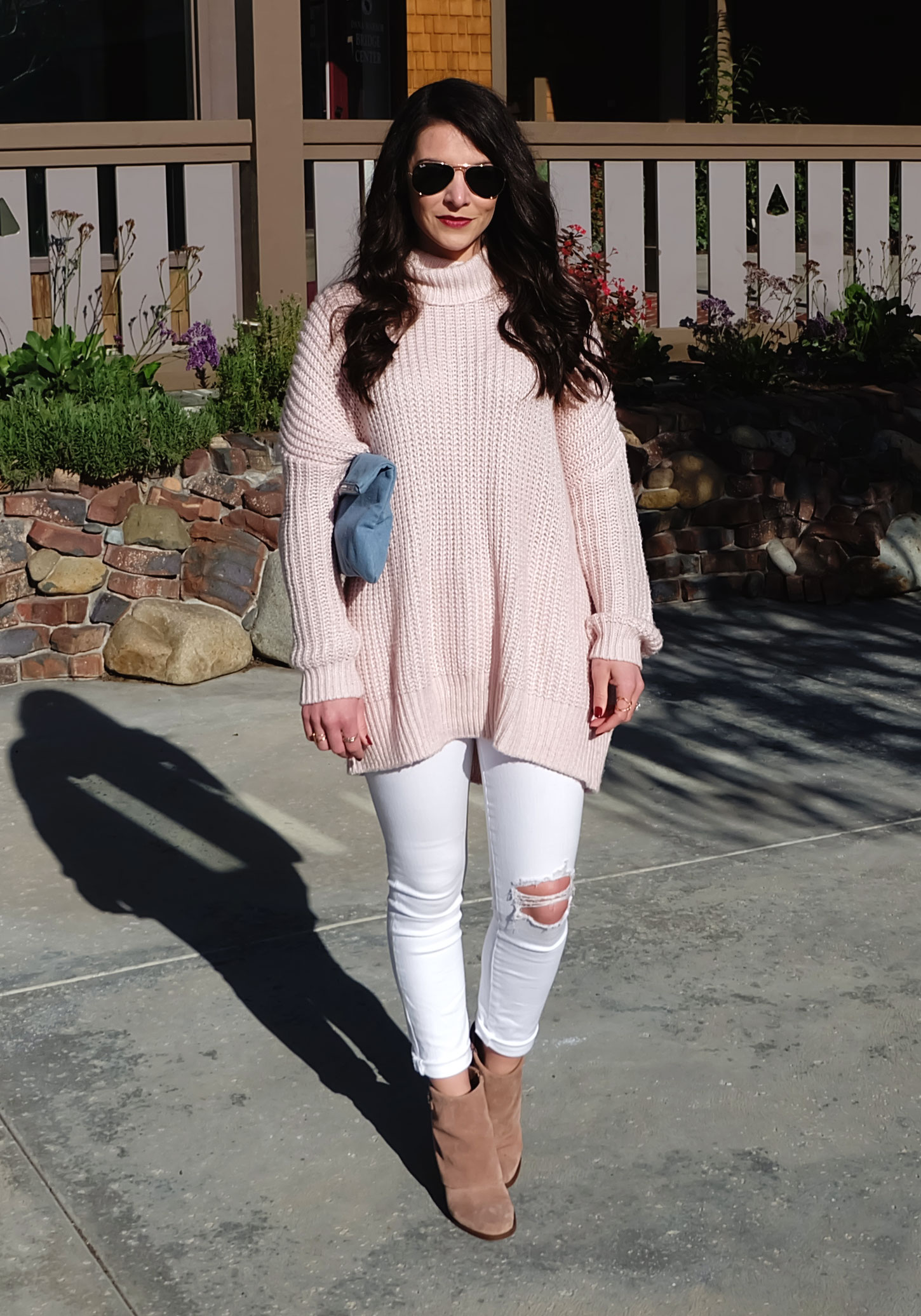 Winter Outfit, Leith Oversized Sweater in Rose Quartz, White Distressed Skinny Jeans, Jessica Simpson Cassley Booties, Pastel Outfit, Pantone Colors of The Year 2016