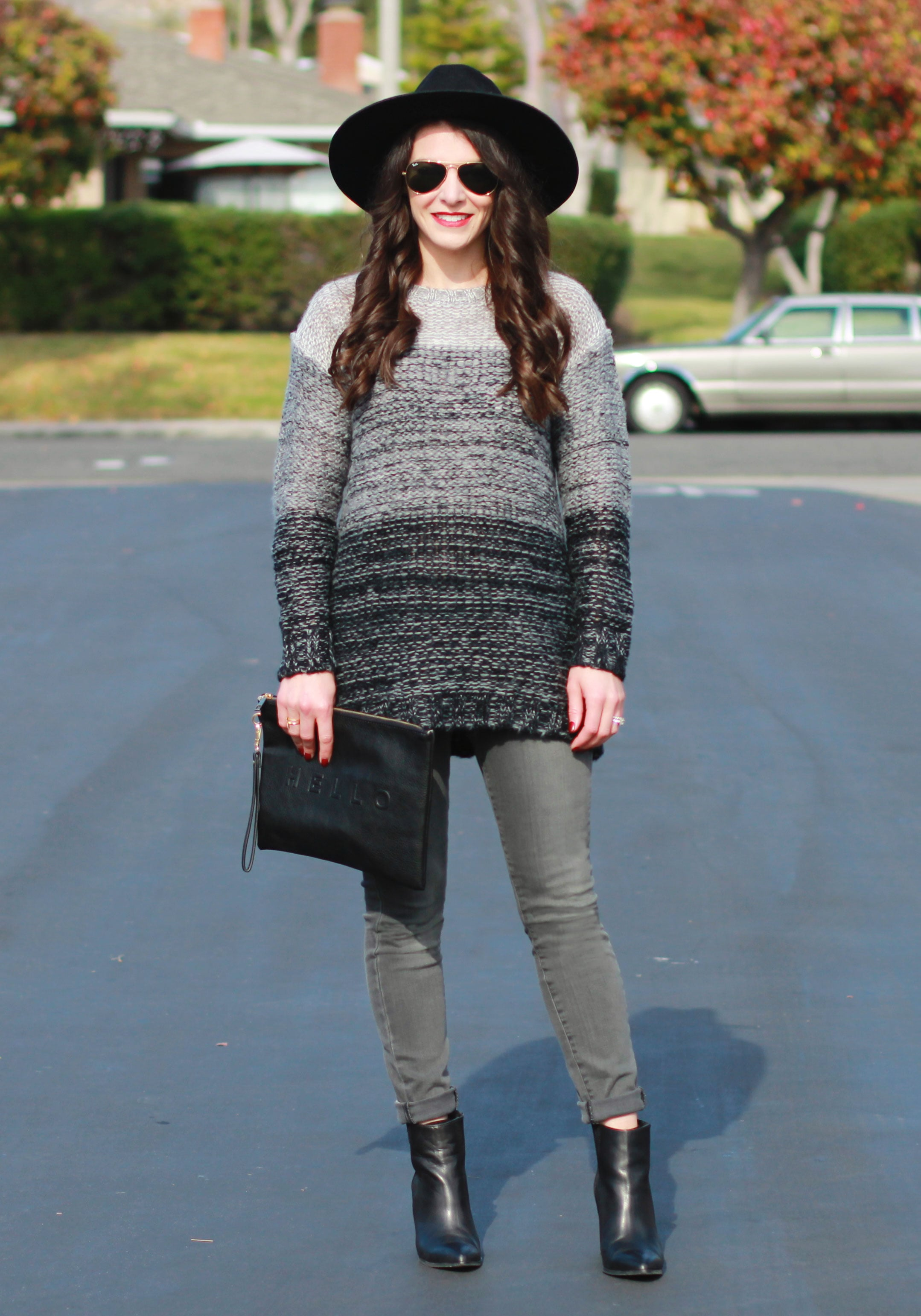 Winter Outfit, Groutfit, Gray Outfit, Xhilaration Ombre Sweater, Paige Jeans, Seychelles Acordian Booties, Brixton Mayfield II Hat, Sole Society Hello Clutch