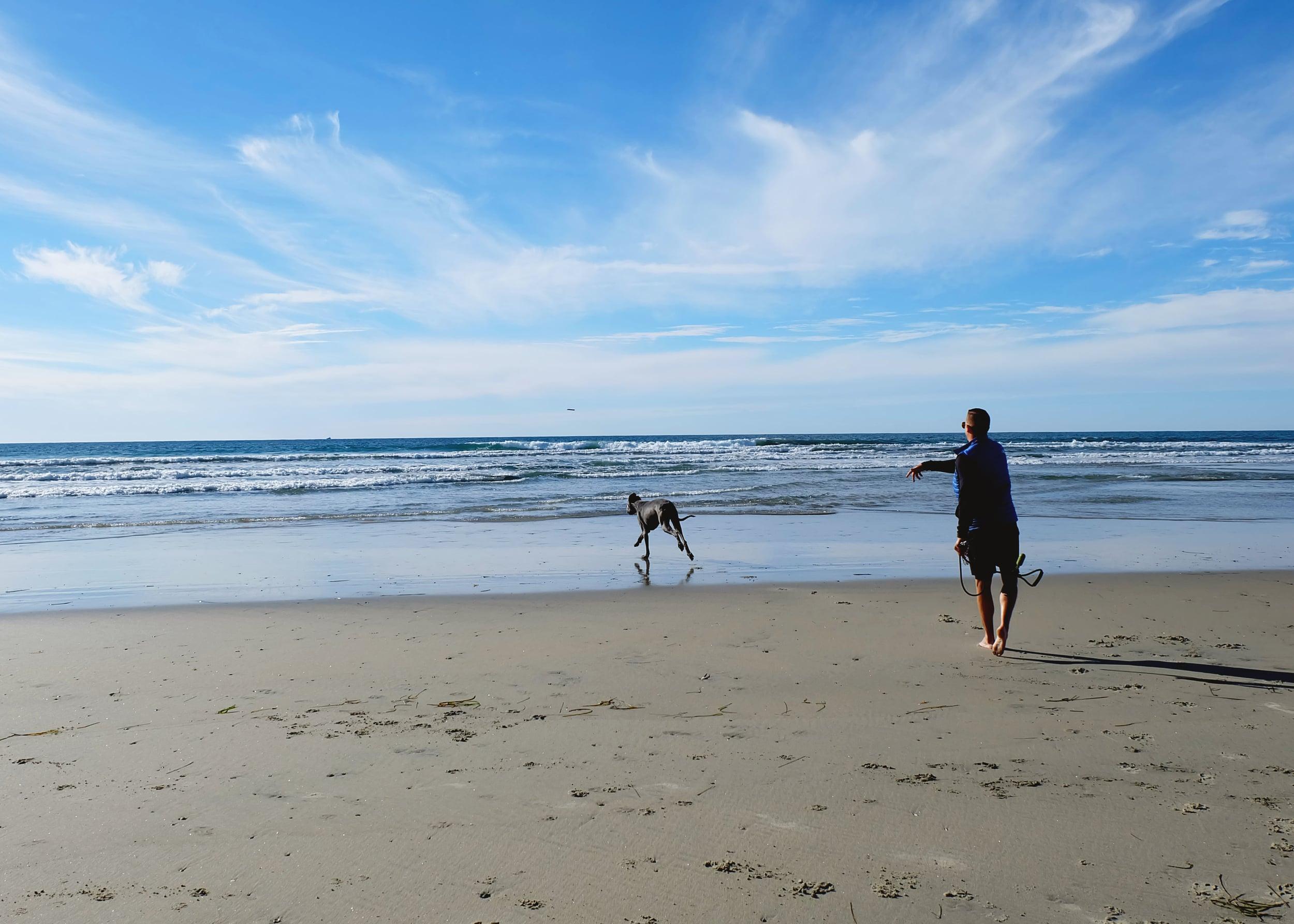 Gary loves Dog Beach Del Mar!