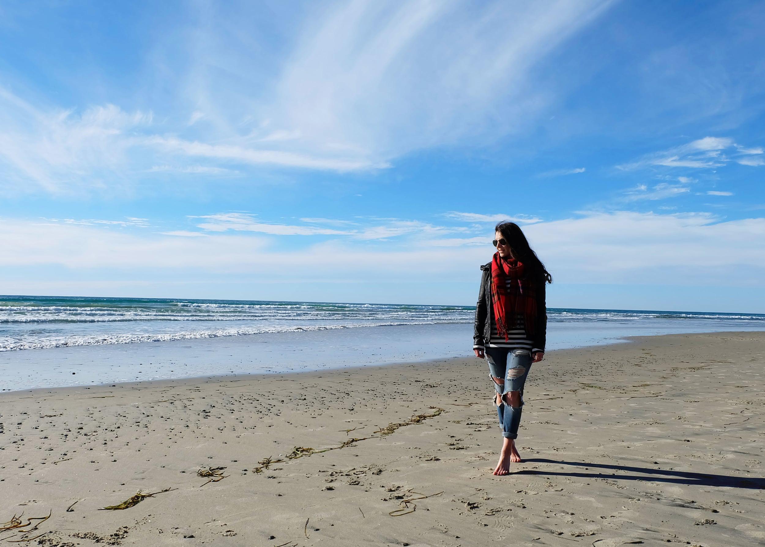 Winter Beach Style, Blanket Scarf, Stripe Tee