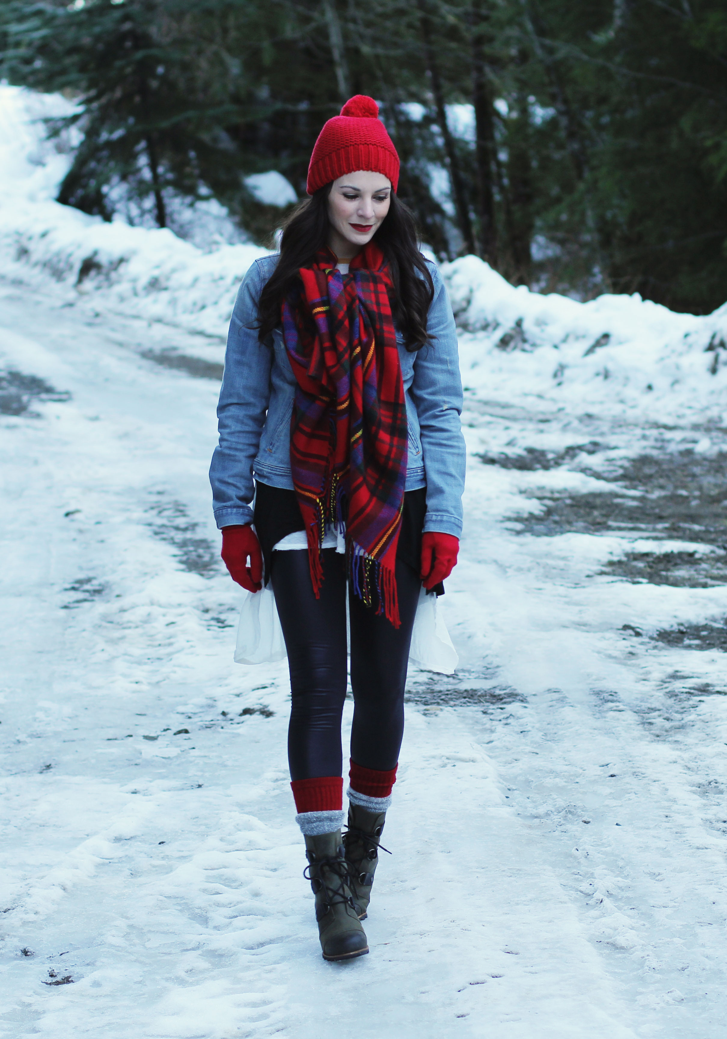 Winter Outfit, Snow Day Outfit, J.Crew Denim Jacket, Plaid Blanket Scarf, Red Gap Beanie with Pom Pom, Sorel Joan Of Arctic Wedge Boots, Long Layering Tees