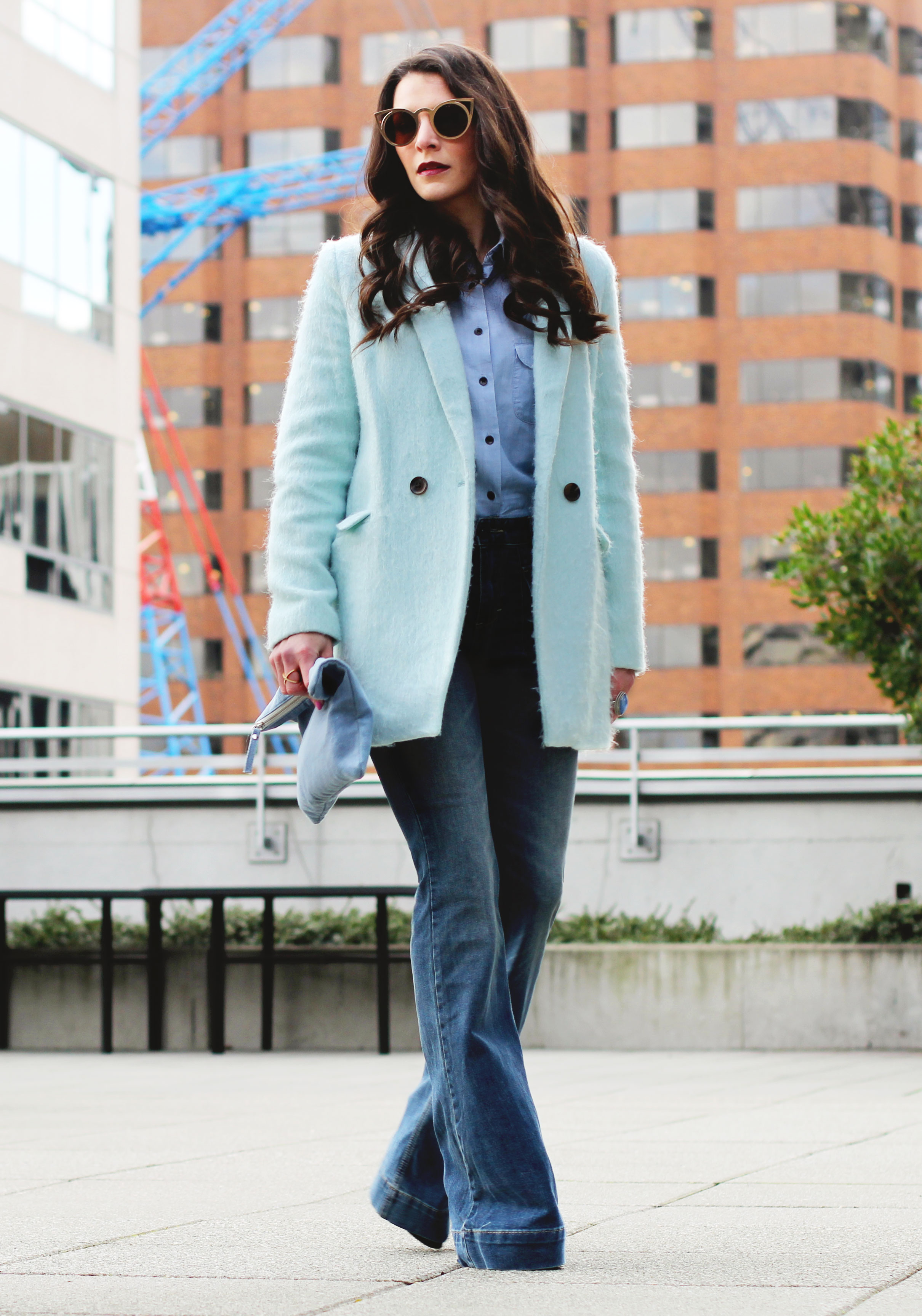 Winter Outfit, All Denim Canadian Tuxedo, Flare Jeans, $10 Gold Cat Eye Sunglasses, Mint Green Coat