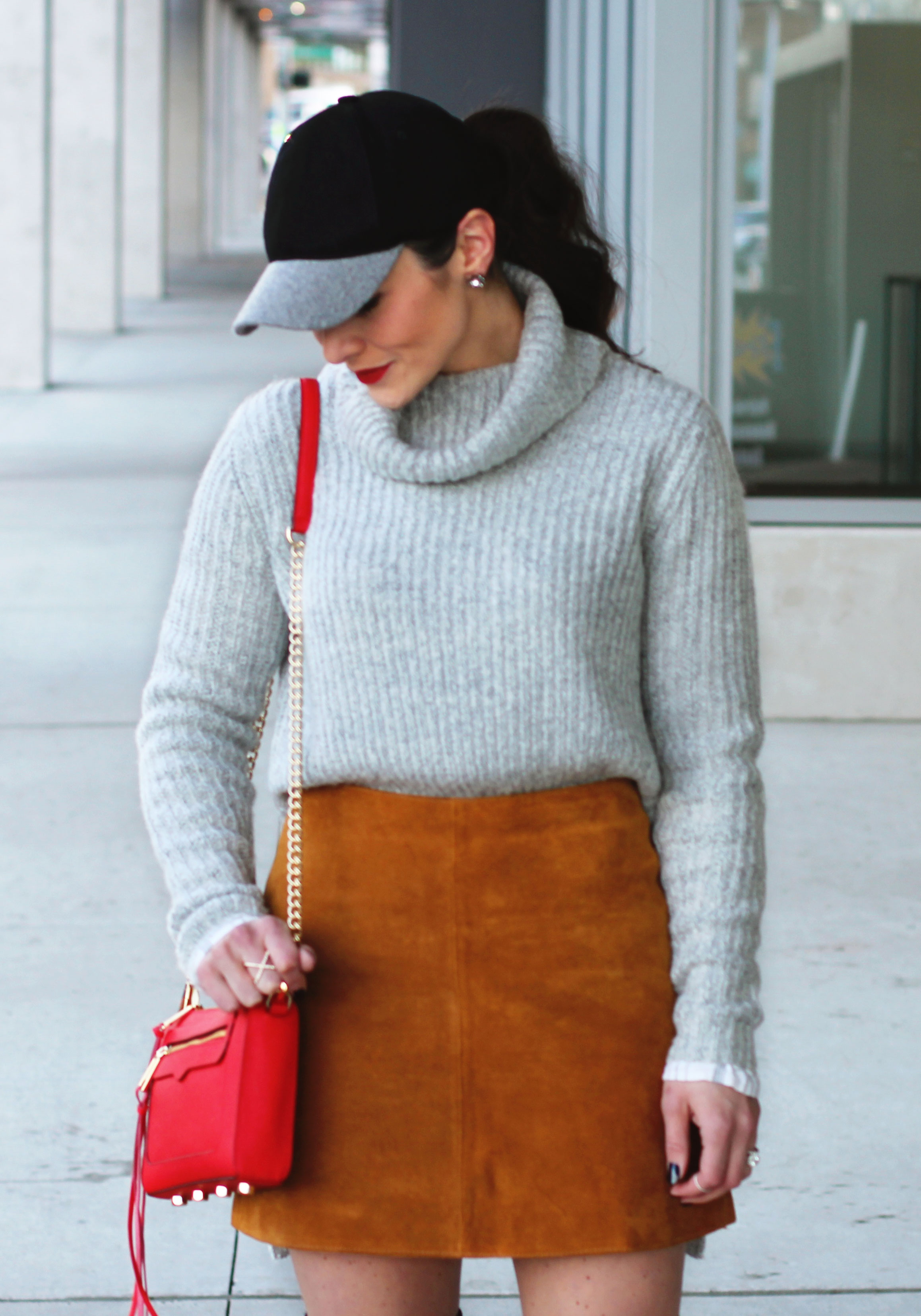 Winter Outfit, Sweater with Suede Skirt, Steve Madden Gorgeous Over The Knee Boots, Wool Baseball Hat, Red Rebecca Minkoff Avery Crossbody Bag